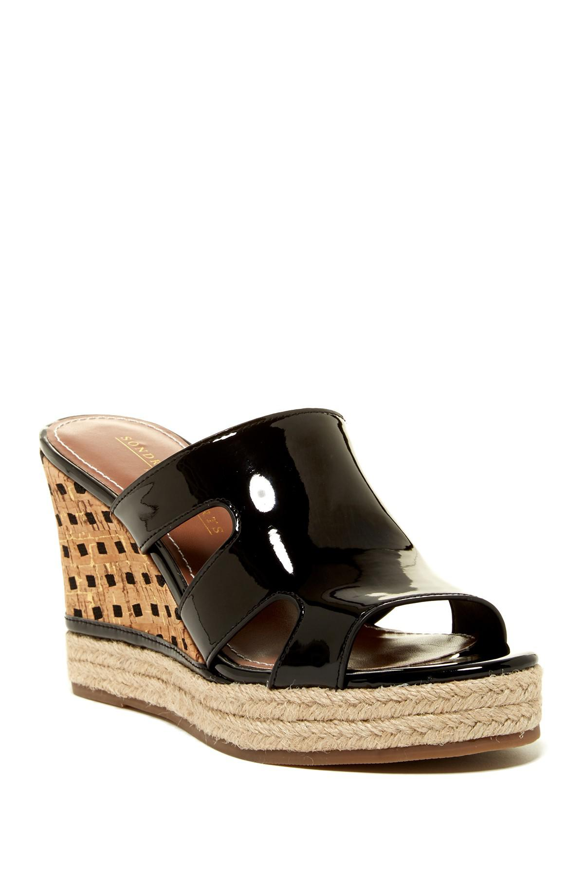 d1e605bb9 Lyst - Sondra Roberts Angie Wedge Sandal in Black