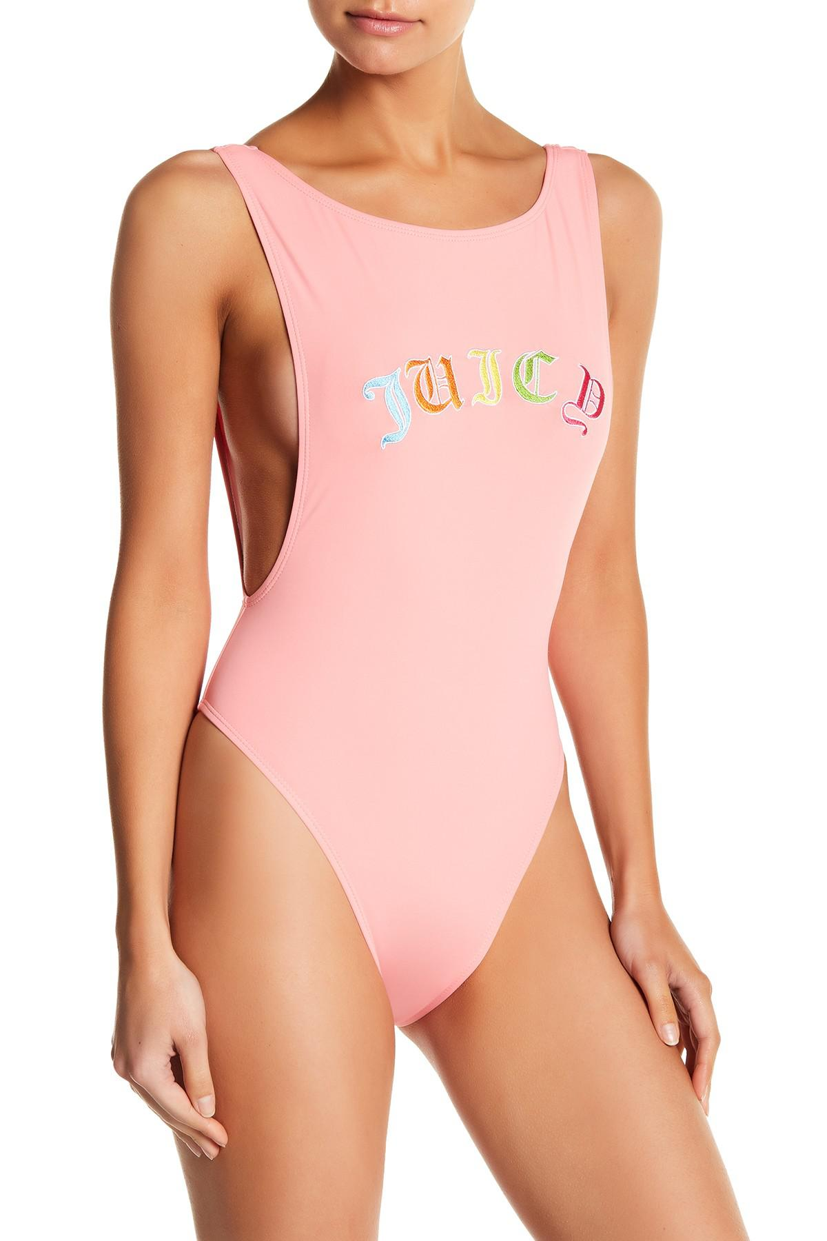 708d183a4d84c Juicy Couture Embroidered Juicy One-piece Swimsuit in Pink - Lyst