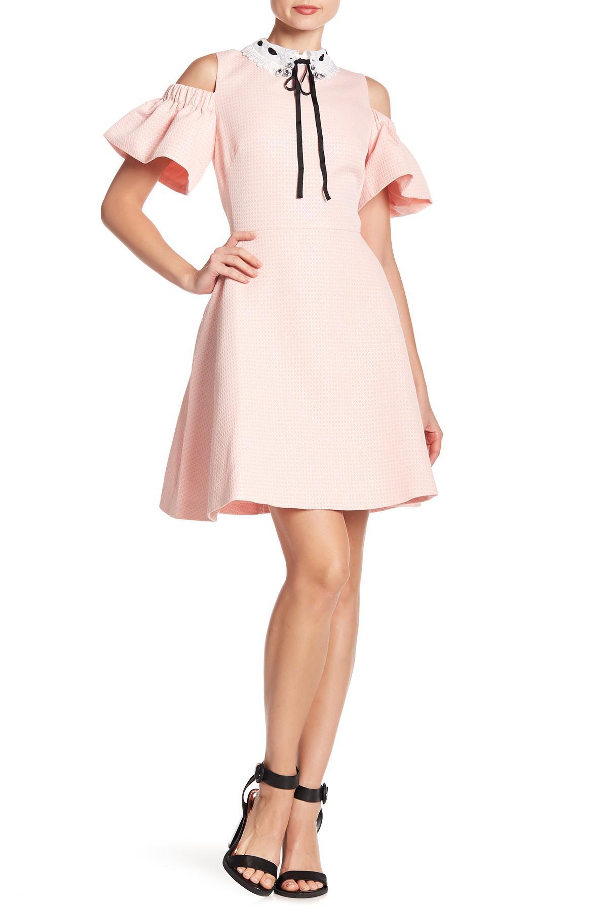 6b8519f332f Lyst - Ted Baker Cold Shoulder Skater Dress in Pink - Save 16%