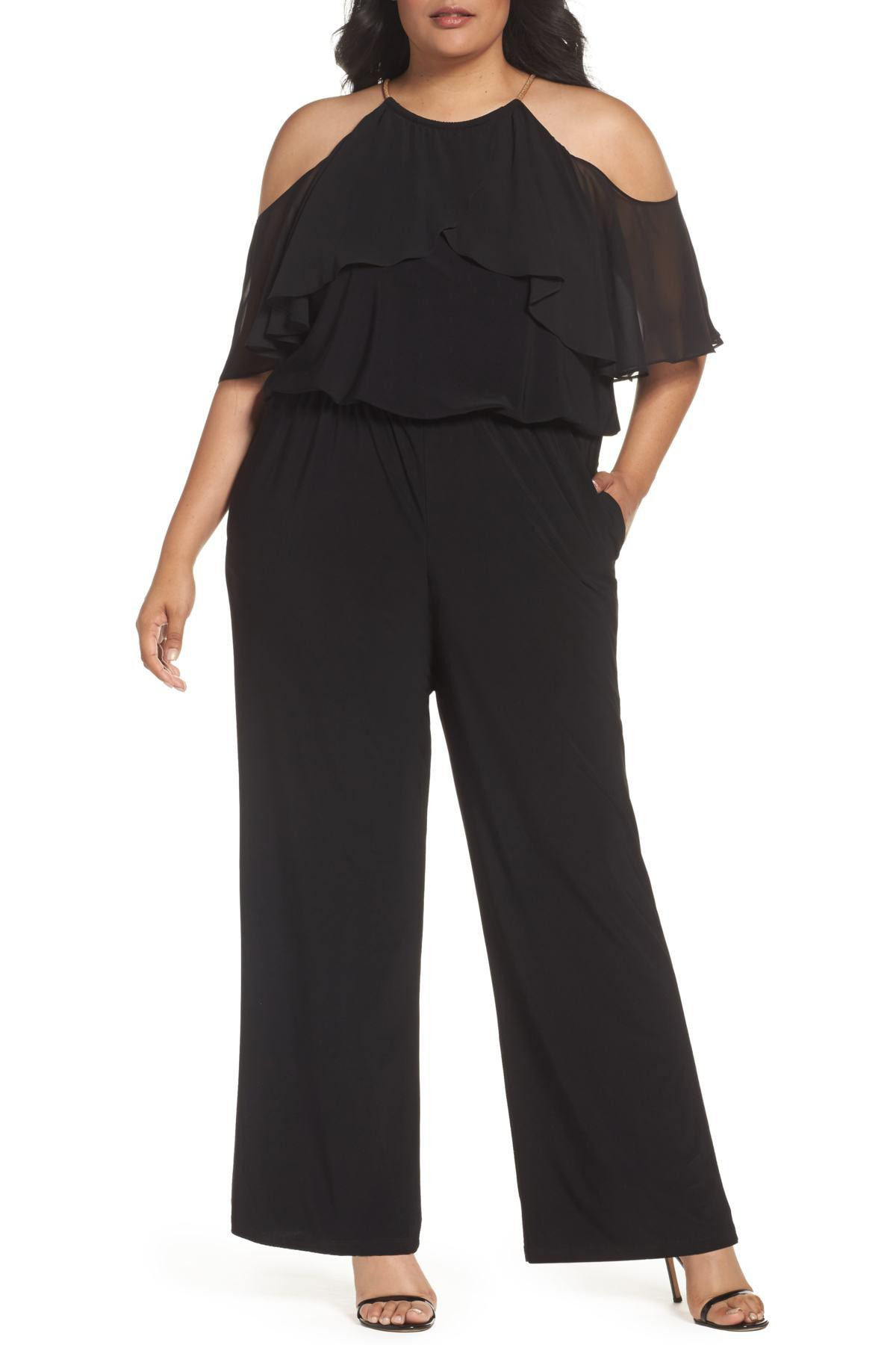 057b0cb4a8df Lyst - Xscape Chain Neck Cold Shoulder Jumpsuit (plus Size) in Black ...