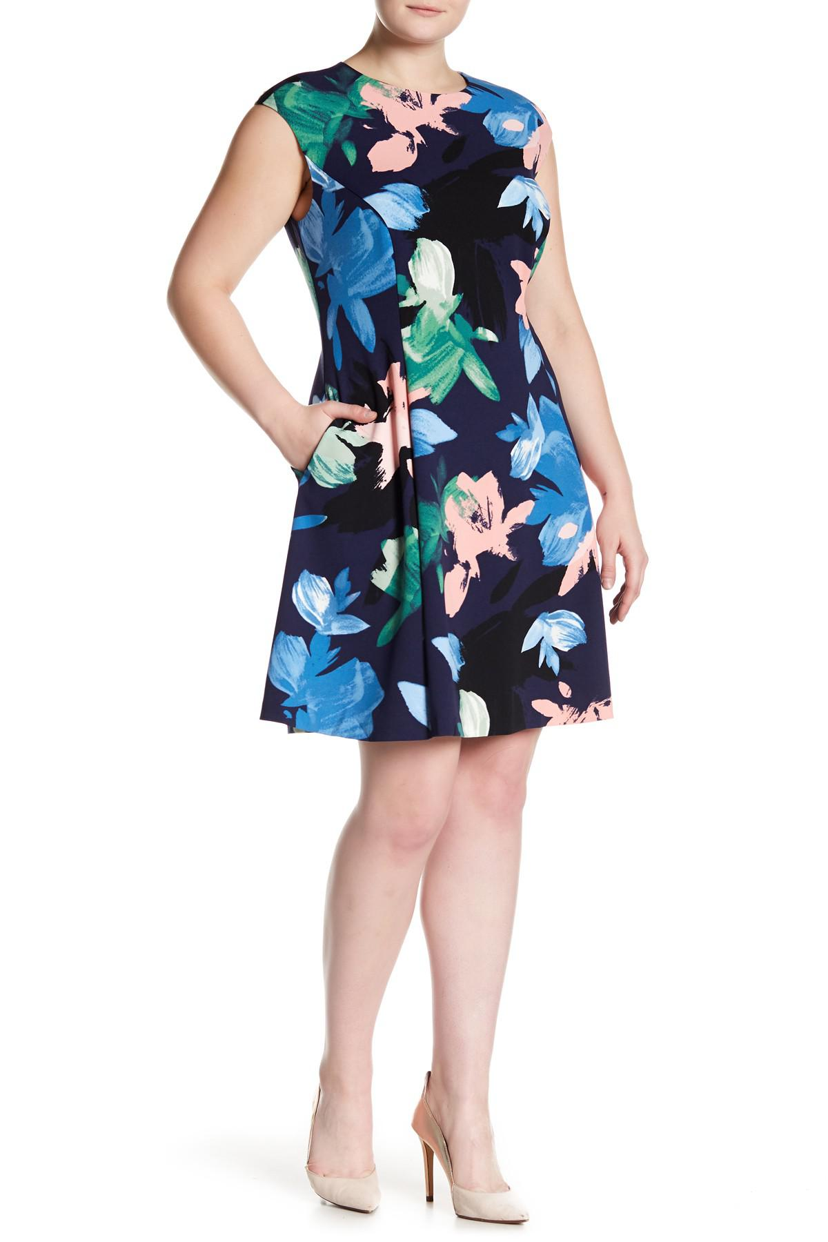 9da49a811a2b Lyst - Vince Camuto Floral Patterned Cap Sleeve Dress (plus Size) in ...