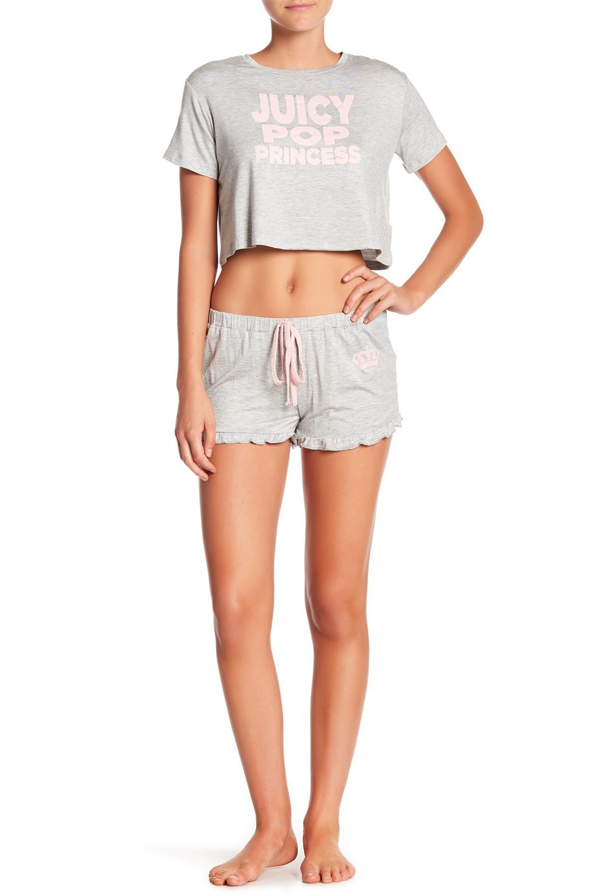 13e1b2f63d Lyst - Juicy Couture Short Sleeve Tee   Shorts Pajama Set in Gray