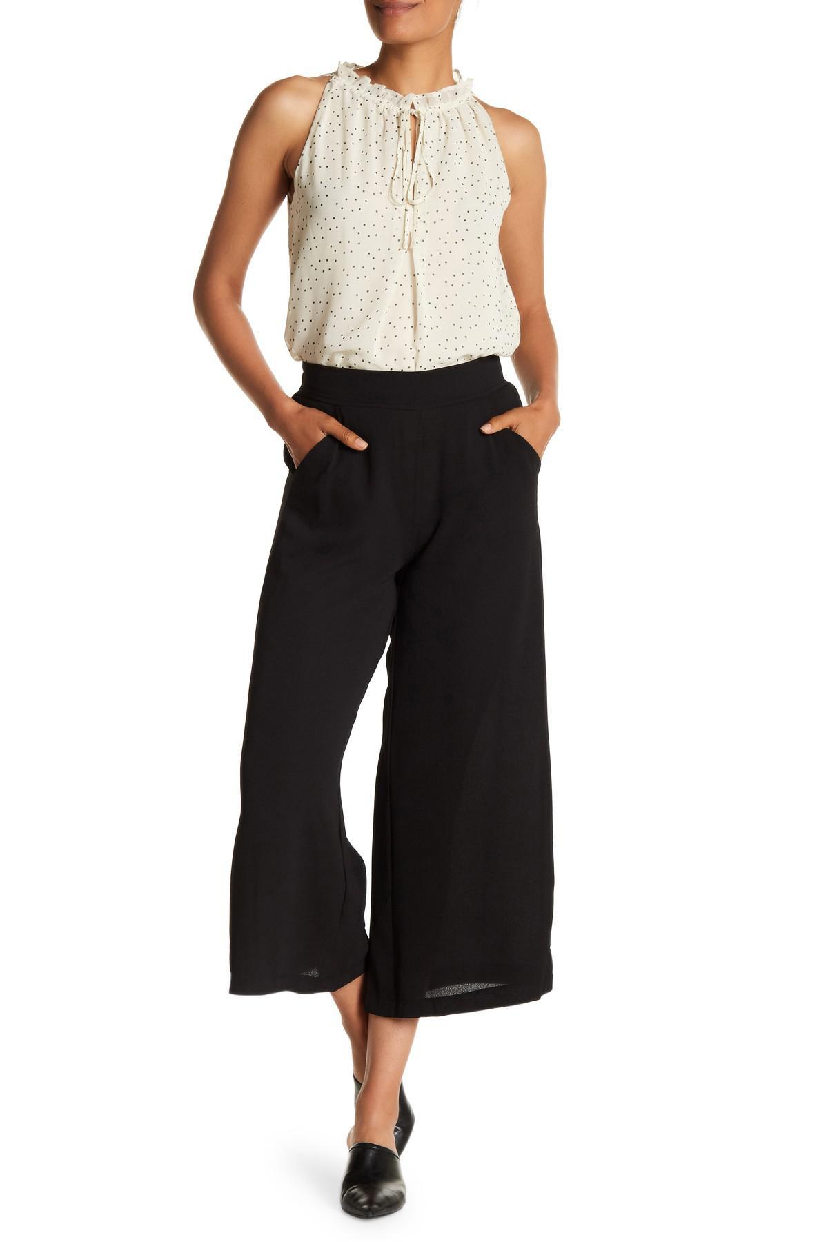 19f8fa9bad84f Lyst - Max Studio High Rise Crepe Culotte Pants in Black
