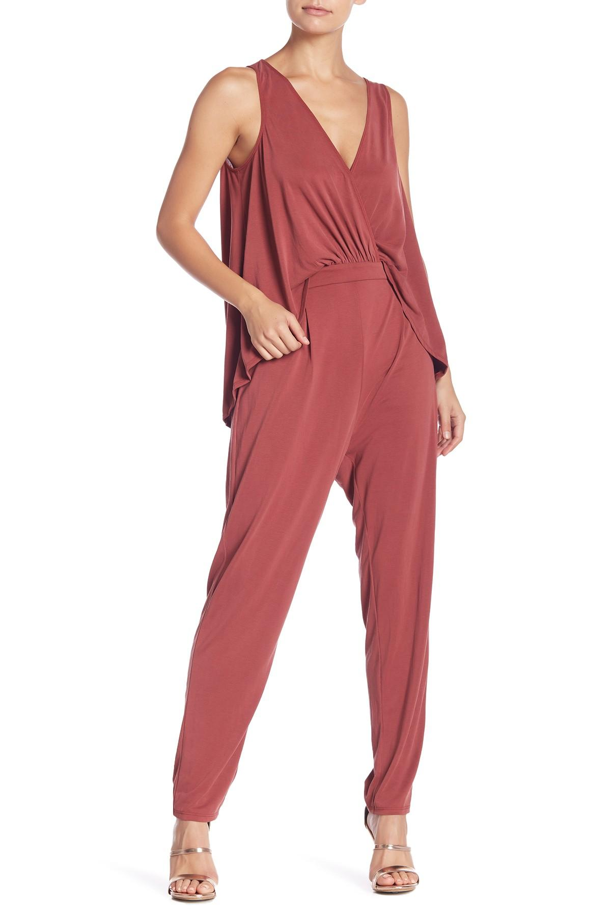 77d4e535ae04 Lyst - BCBGeneration Cape Jumpsuit in Red - Save 8%