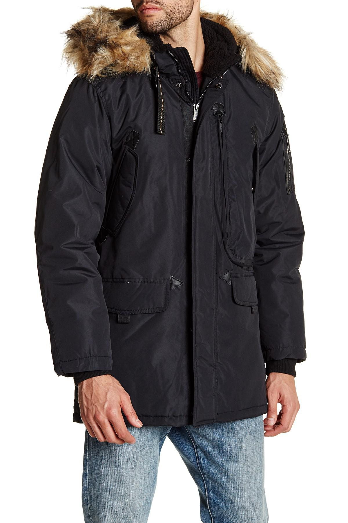 Men Hooded Jacket In Lyst For Fur Sherman Black Faux Parka Trim Ben w0xqPpXx7