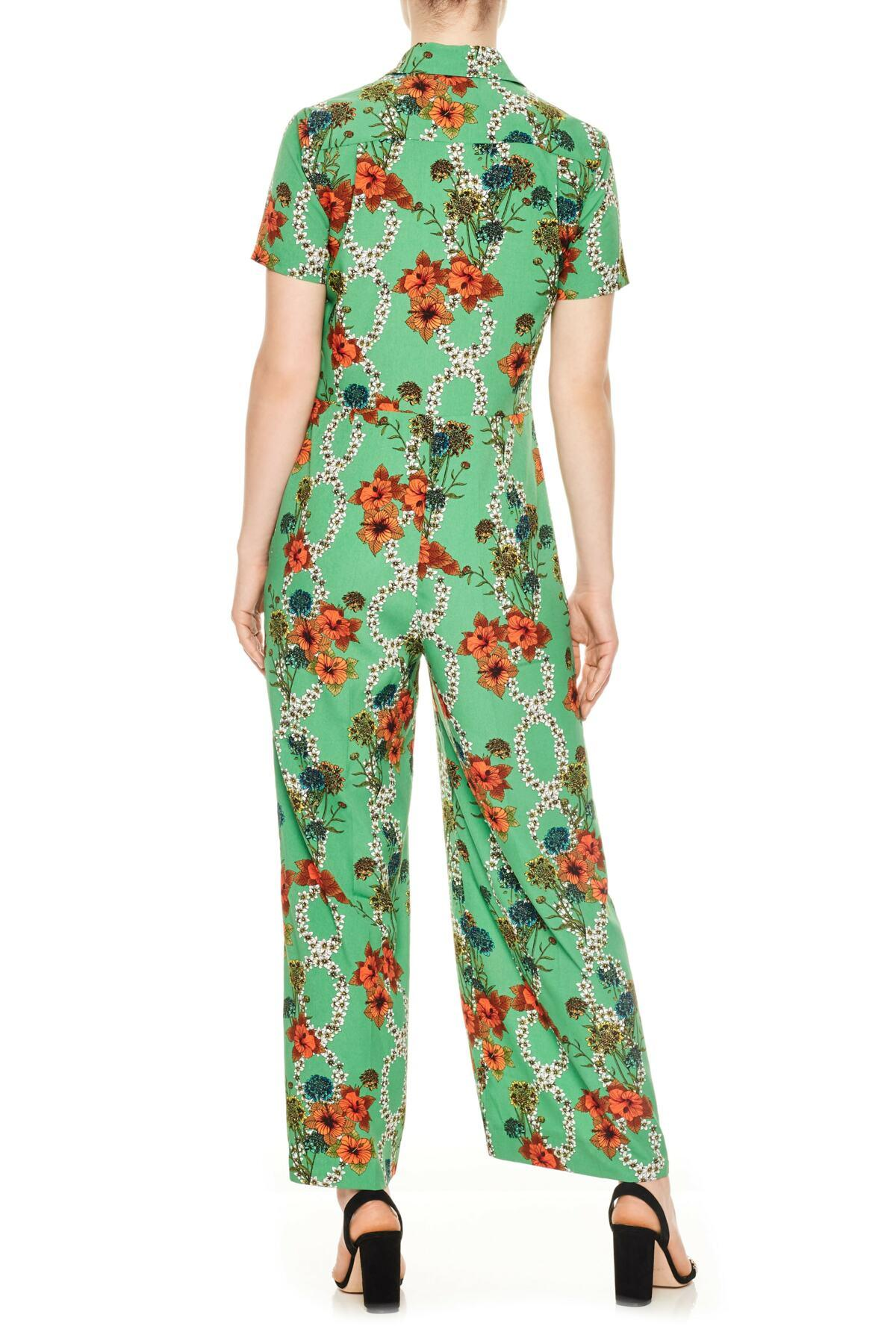 ab61ee14e0c Lyst - Sandro Floral Jumpsuit in Green