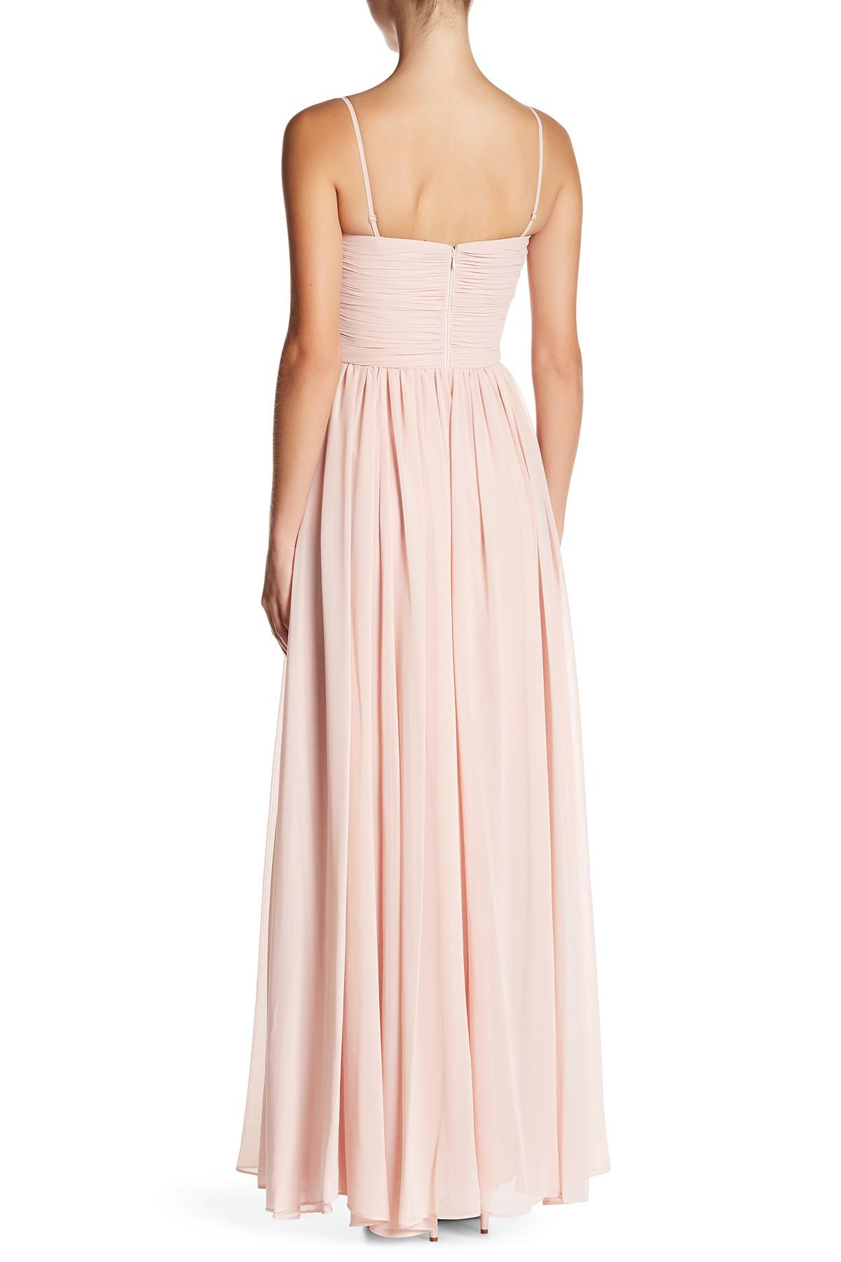 b901acb880eed Lyst - Vera Wang Strapless Chiffon Gown in Pink