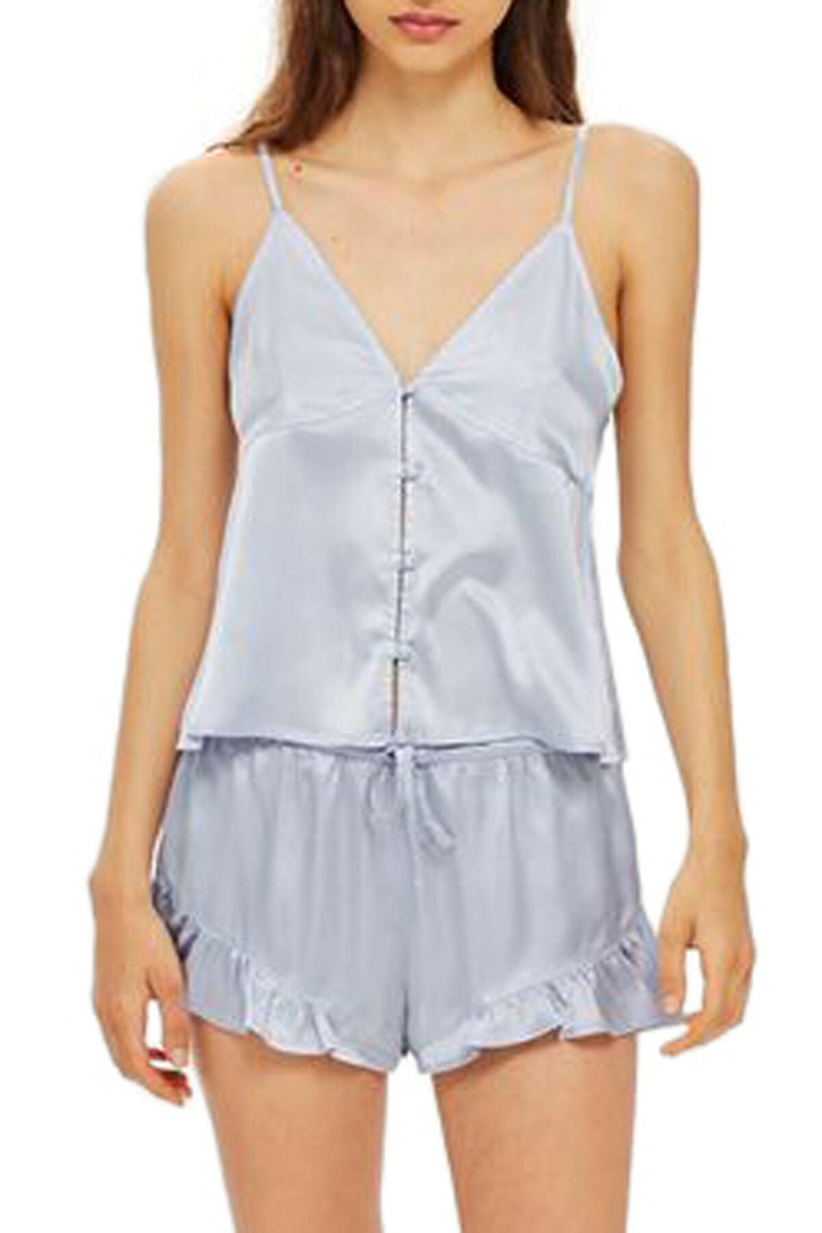 Lyst - TOPSHOP Lucina Satin Short Pajamas in Blue - Save 50.0% e955e83ca
