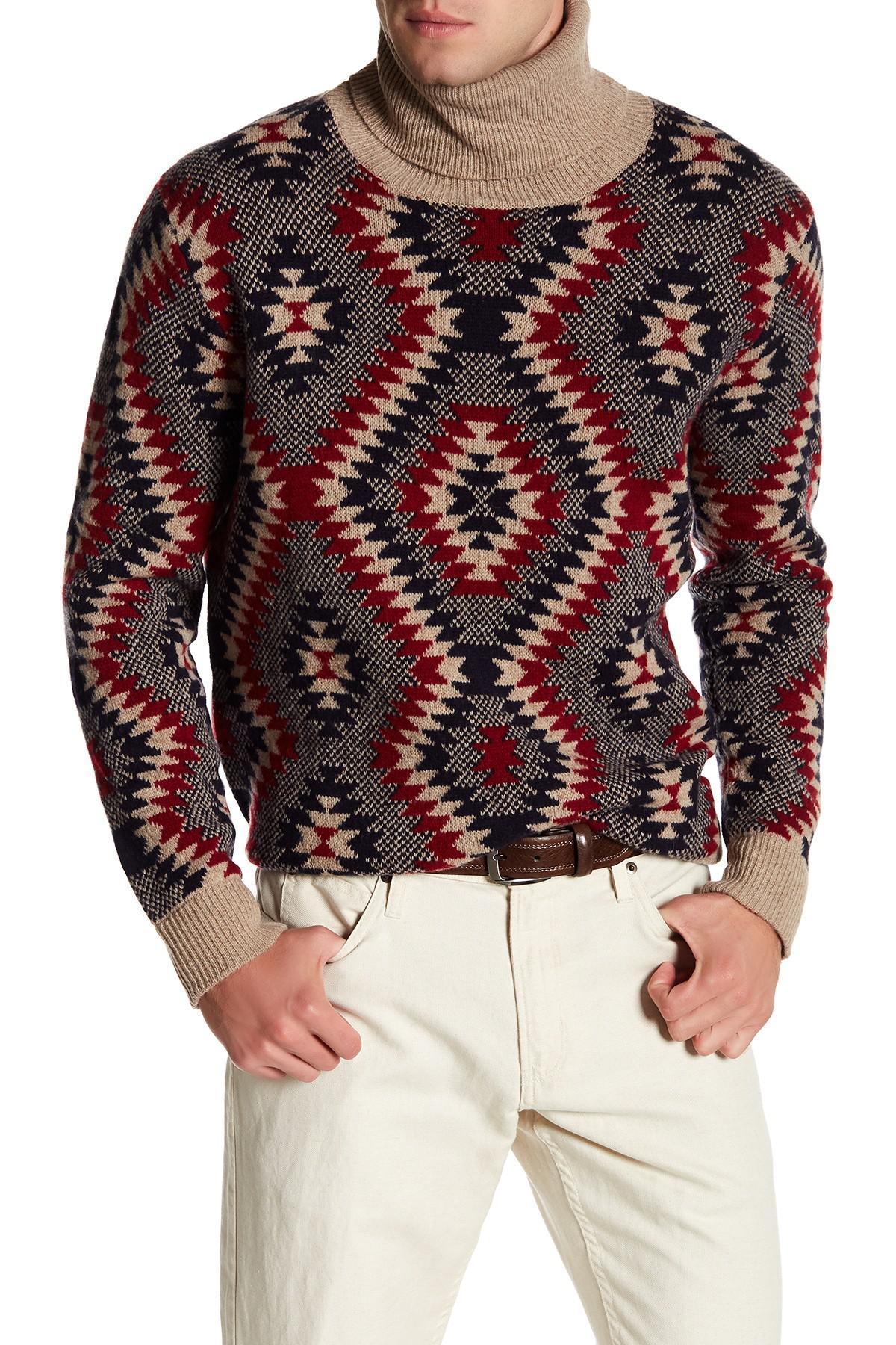 Lyst Loft 604 Cowl Neck Pattern Print Wool Sweater For Men