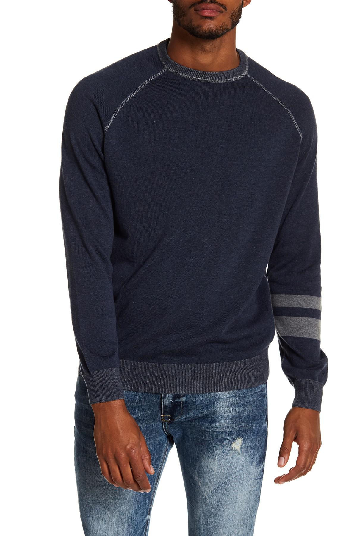 Agave Folsom Raglan Crew Neck Sweater in Blue for Men