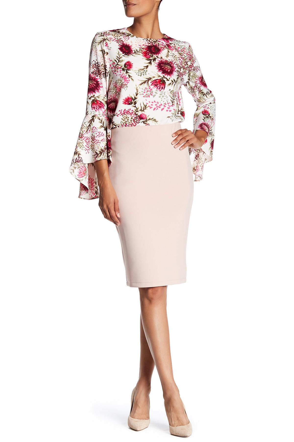 dfd6e69356a Lyst - Catherine Malandrino Back Zip Scuba Pencil Skirt in Pink