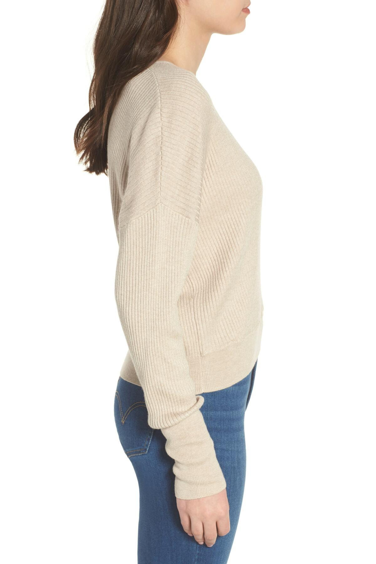 57279fb85 Lyst - Leith Rib Wrap Sweater (regular   Plus Size) in Natural ...