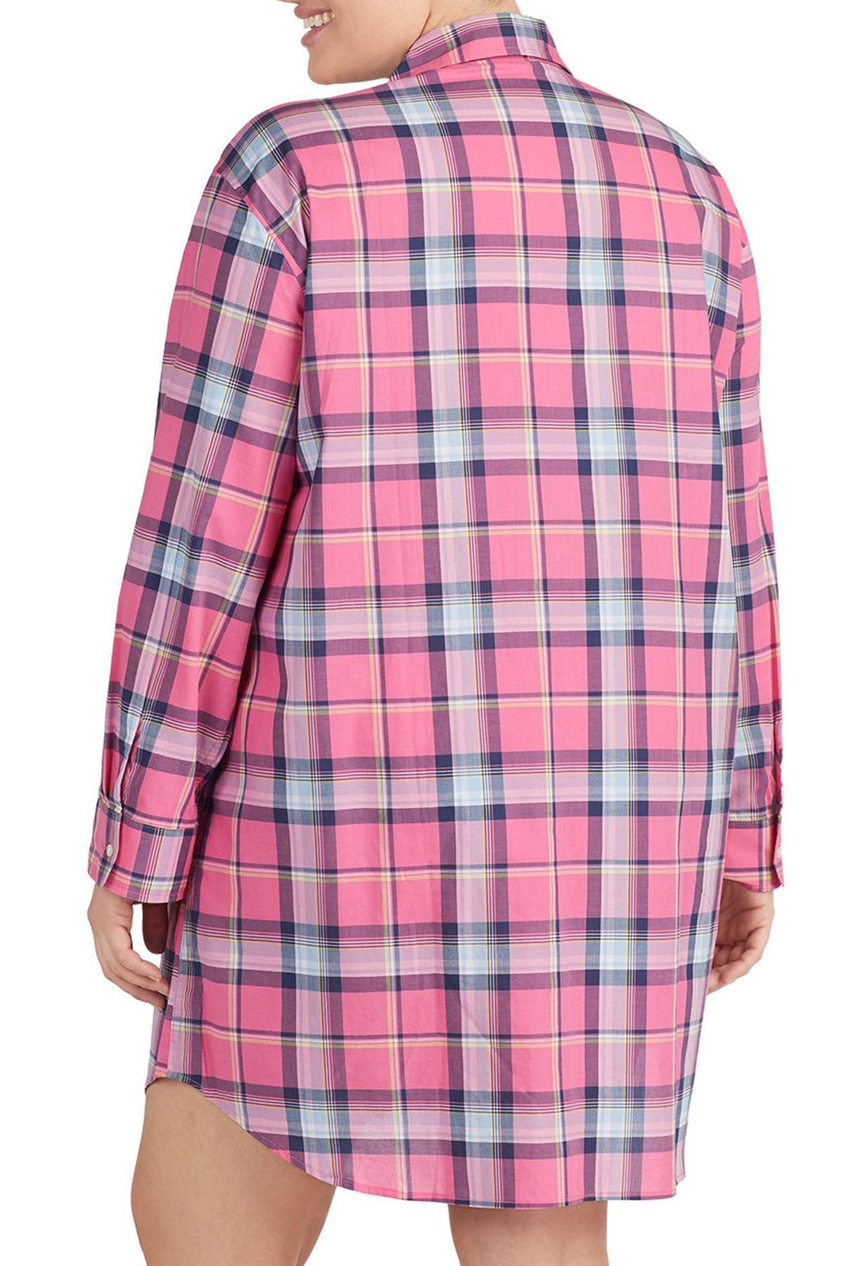Lauren by Ralph Lauren - Pink Plaid Sleep Shirt (plus Size) - Lyst. View  fullscreen 2269bac1b