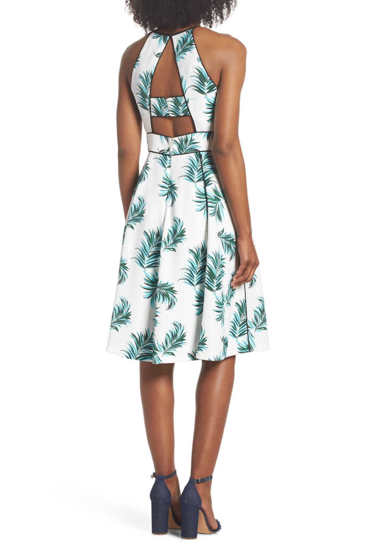 10dc0cec1d95 Adelyn Rae - White Mina Print Fit & Flare Halter Dress - Lyst. View  fullscreen