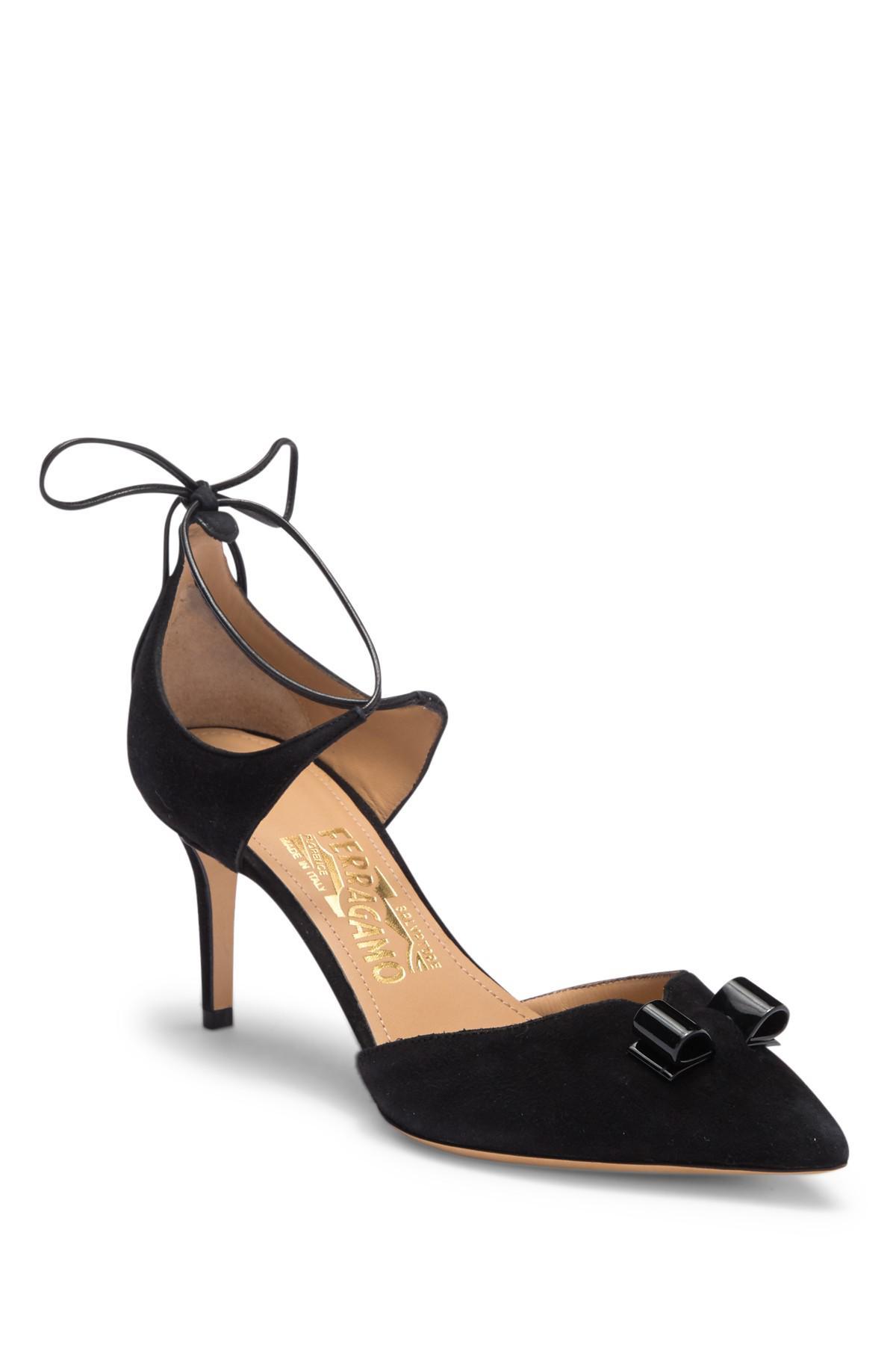 3041fc6bd87 Lyst - Ferragamo Carolyn Pointed Toe Suede Pump in Black