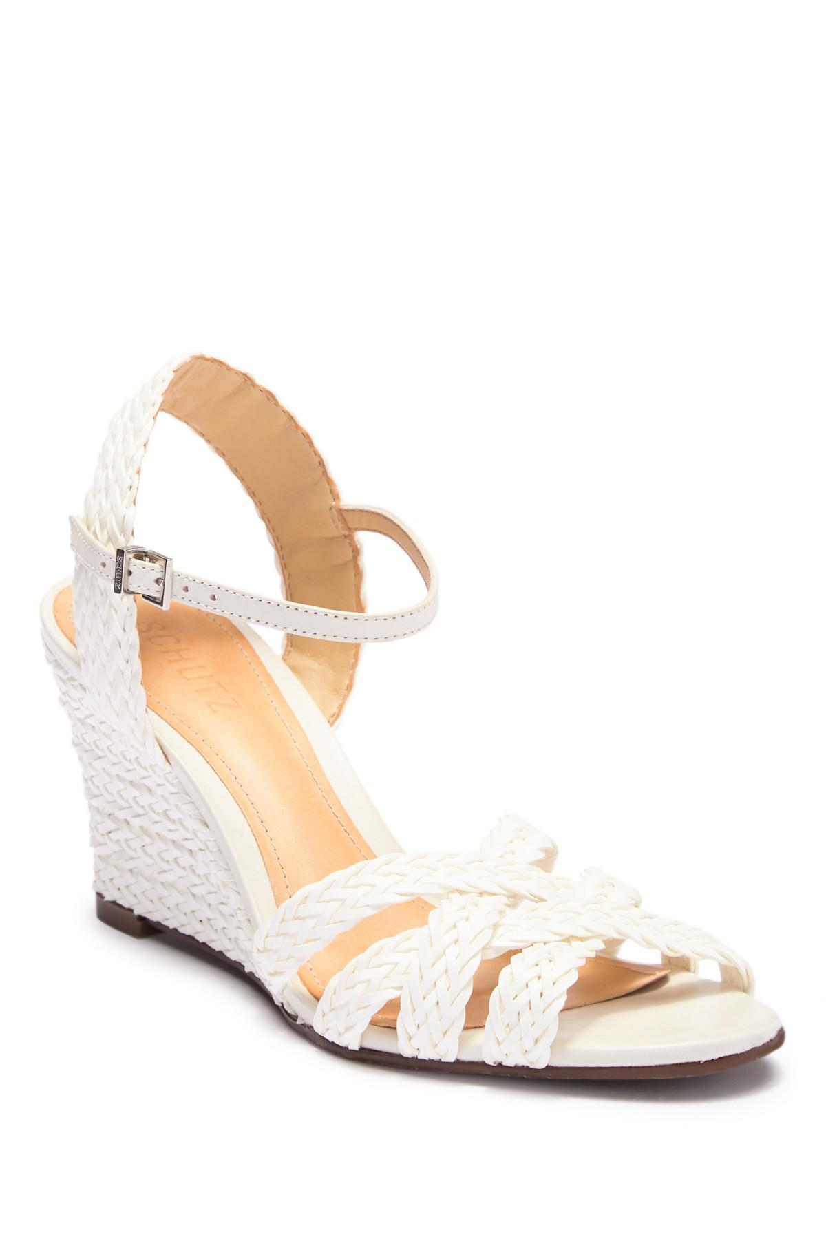 Schutz Mahoni Leather Woven Wedge Sandal WuLvrH