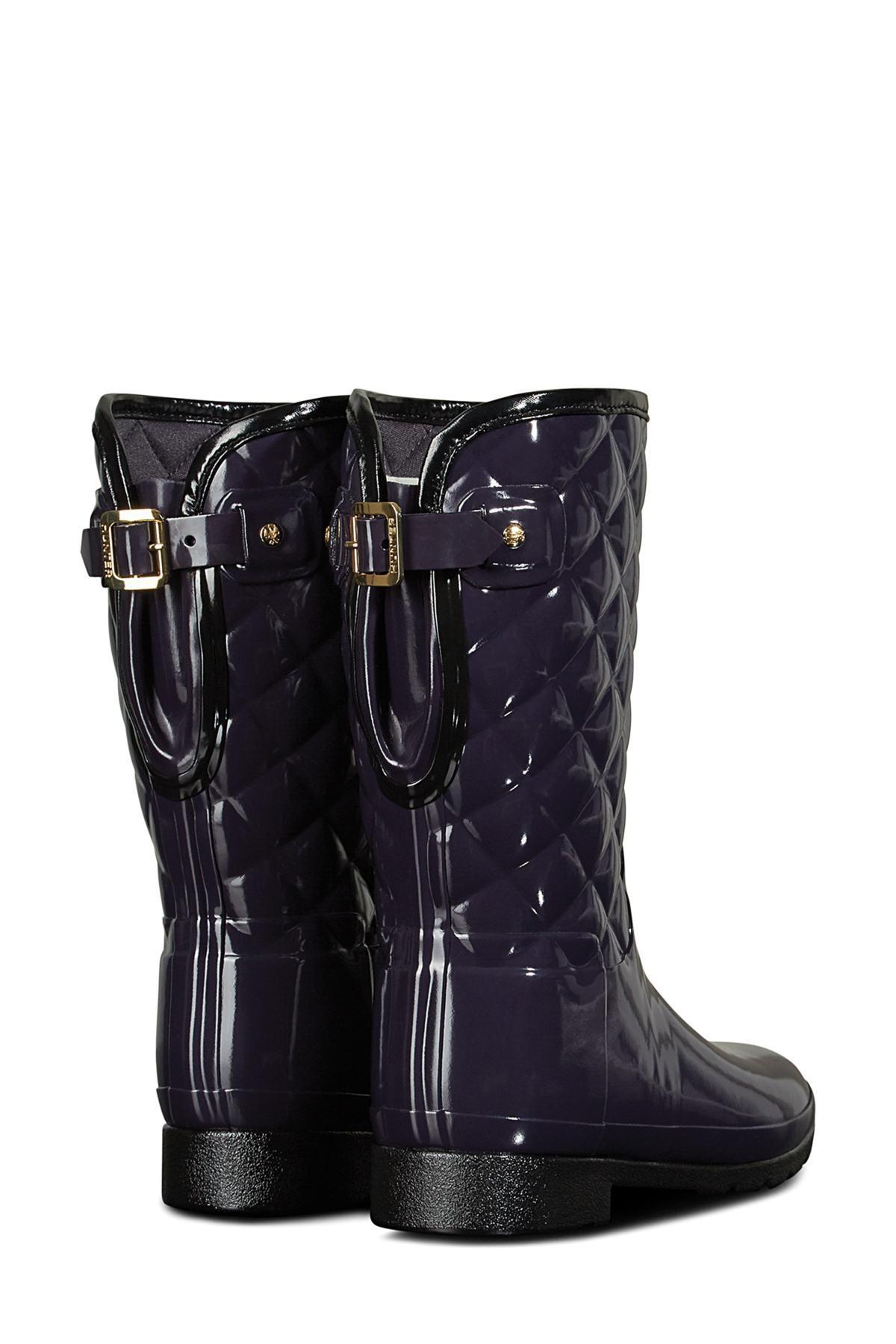5704b043f761 Lyst - HUNTER Refined High Gloss Quilted Short Waterproof Rain Boot ...
