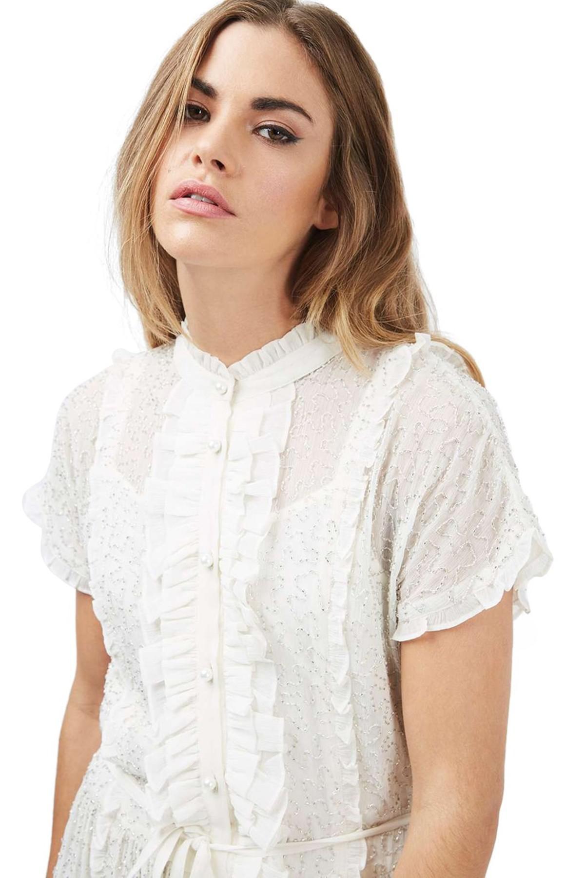 0618ccf9eaf TOPSHOP Embellished Shirtdress in White - Lyst