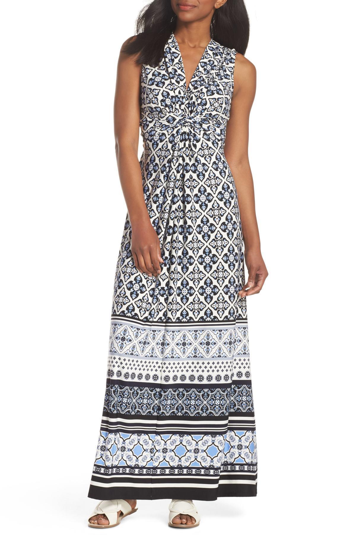762ea668477 Eliza J Knot Detail Jersey Maxi Dress in Blue - Lyst