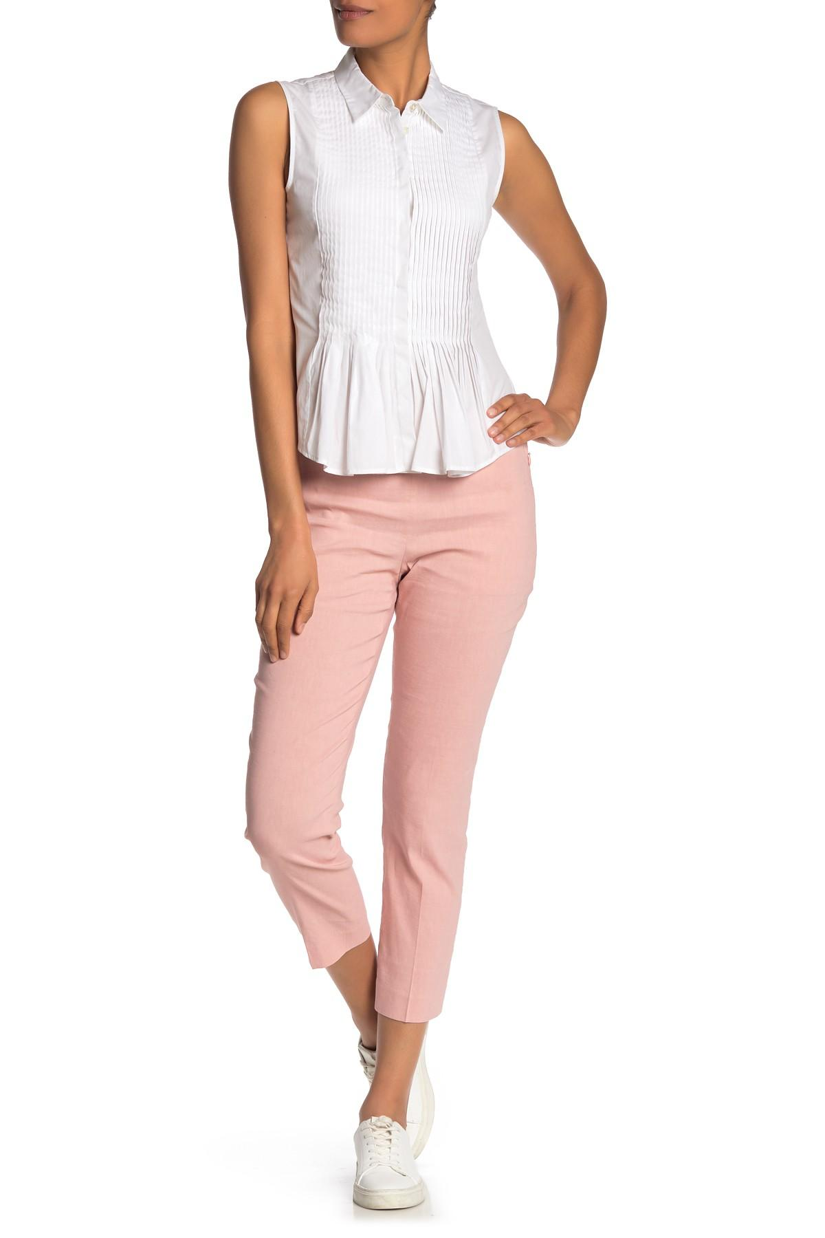 574e998daaa Theory Pull-on Linen Blend Pants (regular & Petite) in Pink - Lyst