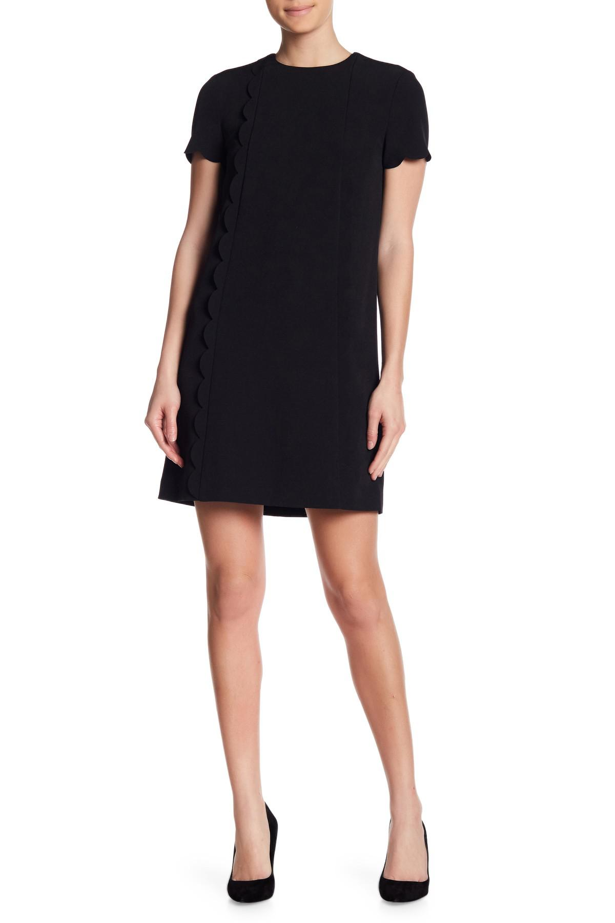 7bbd017279ef1 Tahari Scalloped Short Sleeve Shift Dress in Black - Lyst