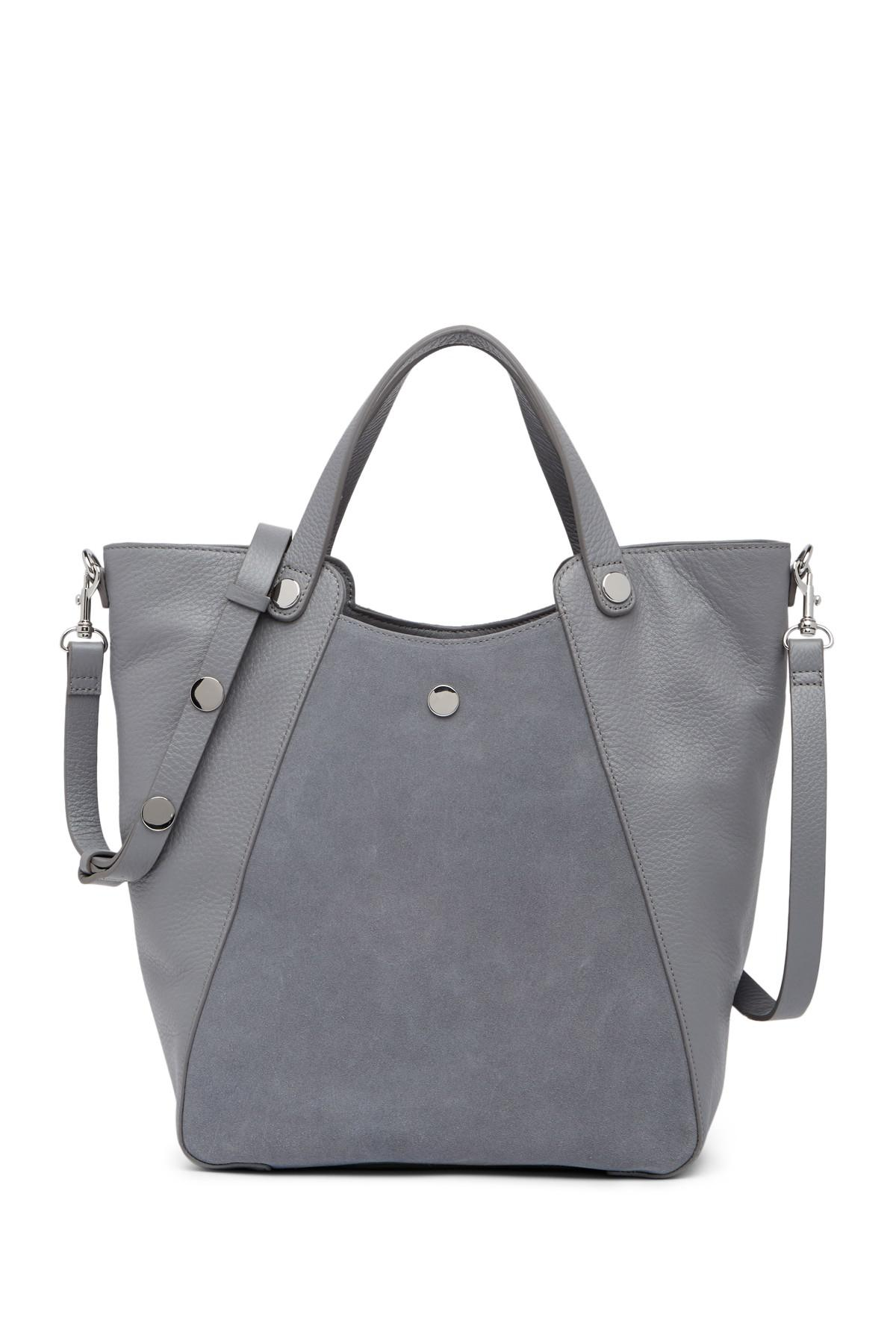 e73456ded8 Halston Suede   Leather Bucket Tote in Gray - Lyst