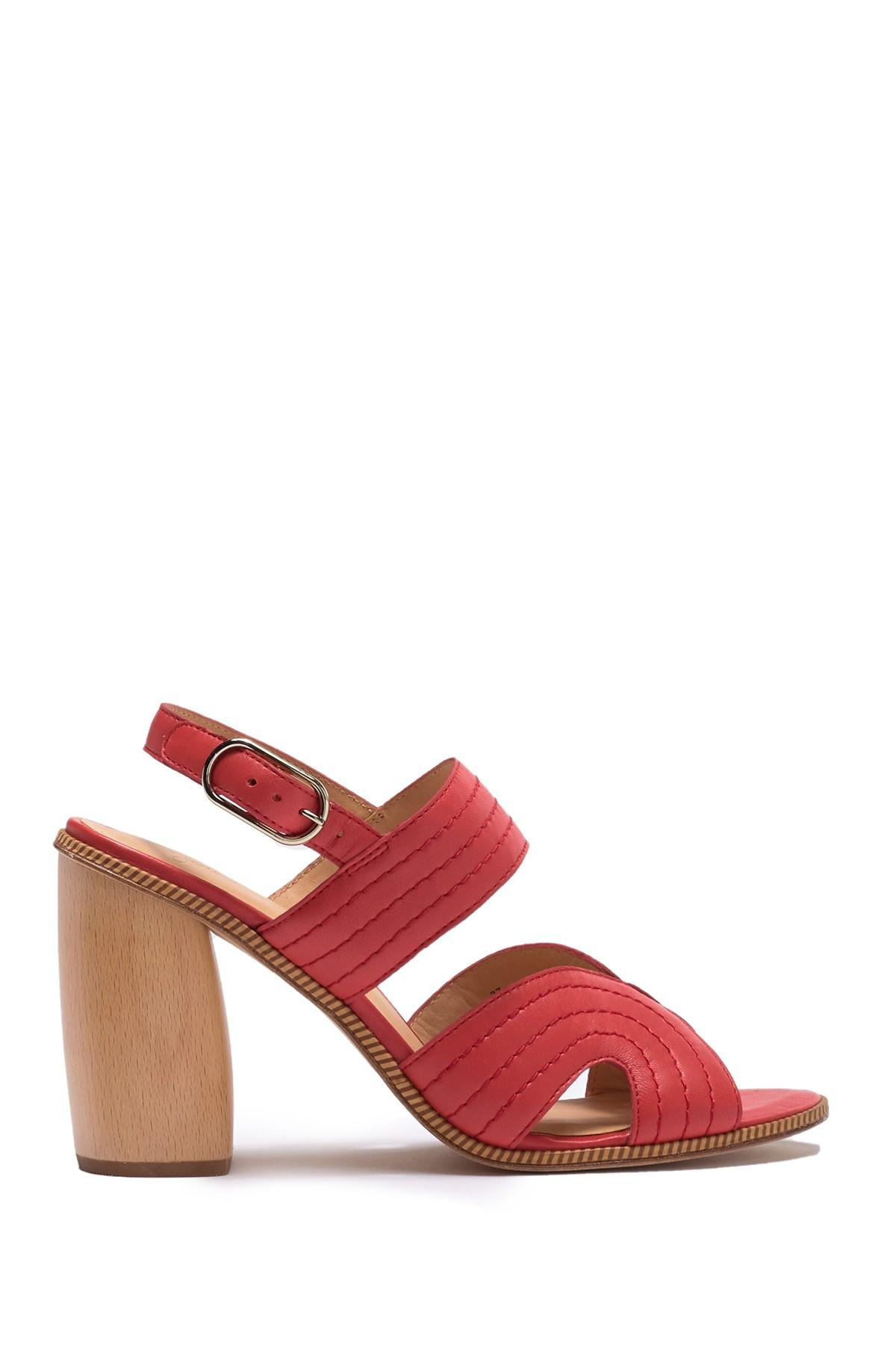 6079c01cbcc Lyst - Joie Aforleen Leather Slingback Strap Heeled Sandal in Red ...