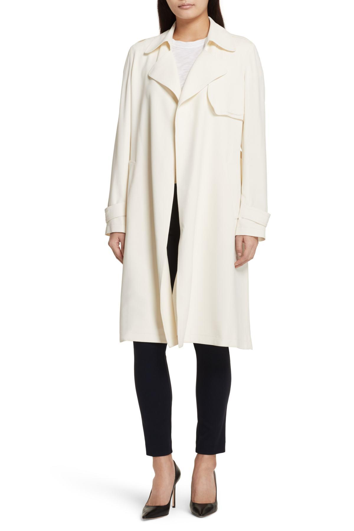 Theory Oaklane Rosina Crepe Trench Coat In Natural Lyst