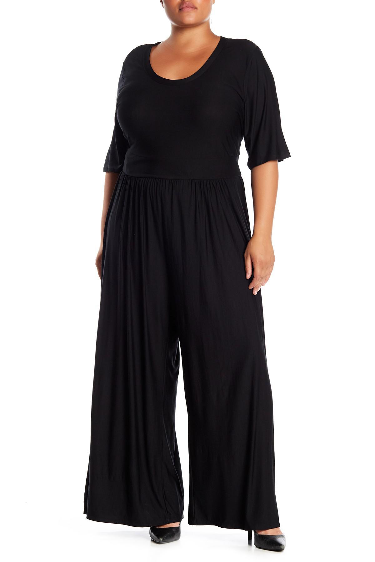 6cf755767793 Lyst - West Kei Knit Wide Leg Jumpsuit (plus Size) in Black