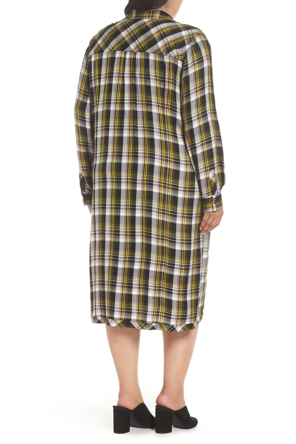 f476f613279 Lyst - Caslon Knot Front Plaid Shirtdress (plus Size) in Black ...