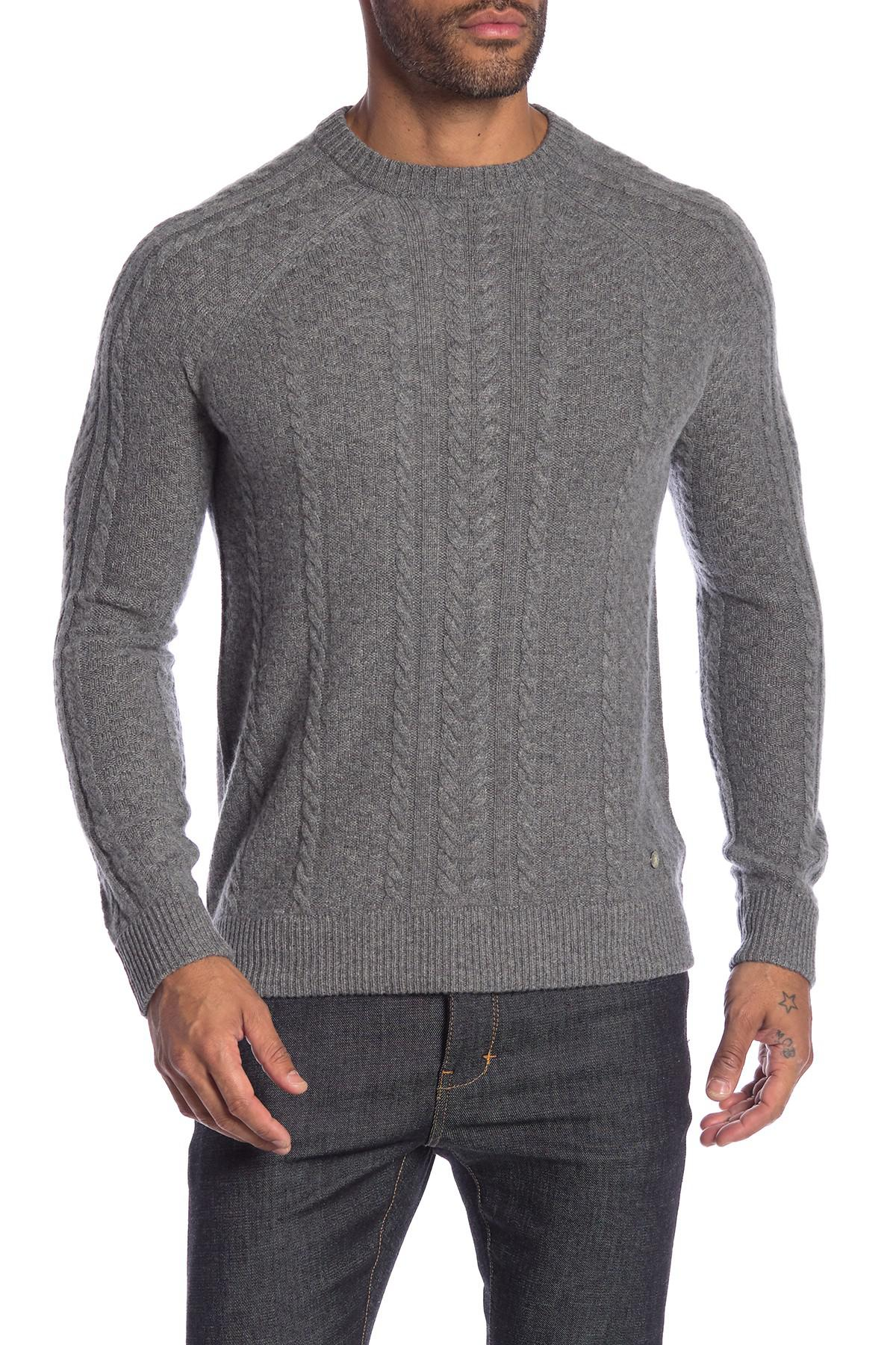 Lyst Raffi Fisherman Cable Knit Cashmere Sweater In Gray For Men