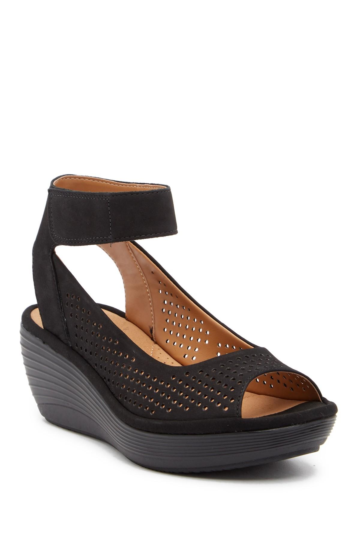 9b5c7fc1588 Lyst - Clarks Reedly Salene Wedge Sandal - Wide Width Available in Black