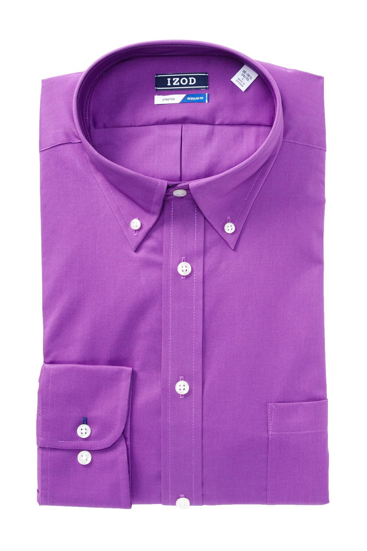 izod solid twill regular fit dress shirt in purple for men