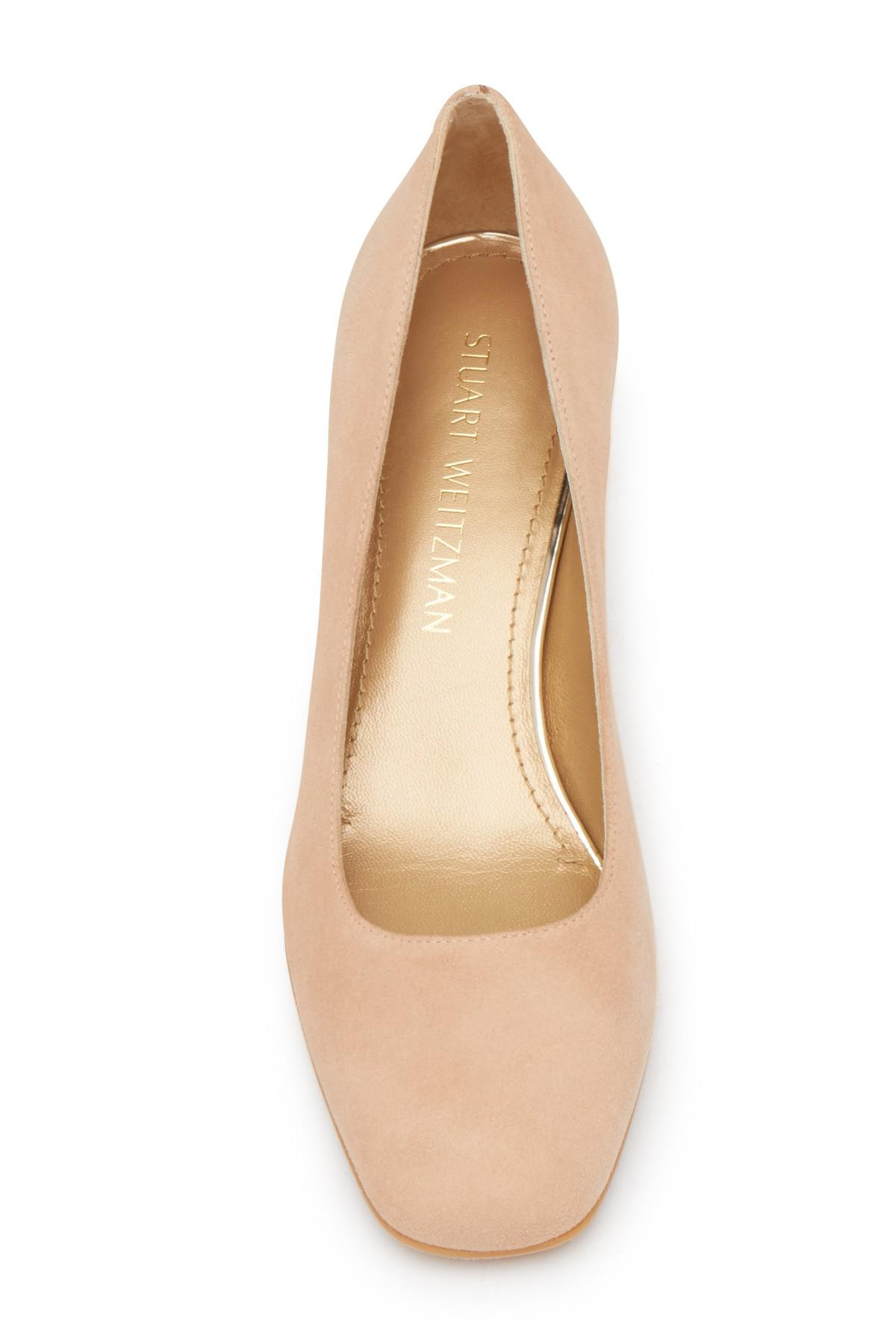 b9683d6935 Lyst - Stuart Weitzman Marymid Pump - Wide Width Available in Natural