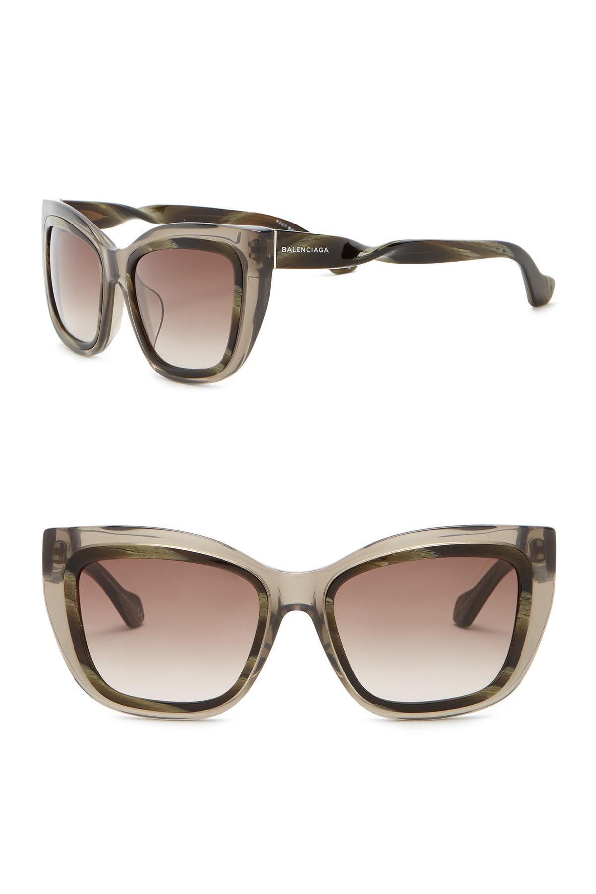 67f6c0f138 Lyst - Balenciaga 55mm Squared Cat Eye Sunglasses in Brown