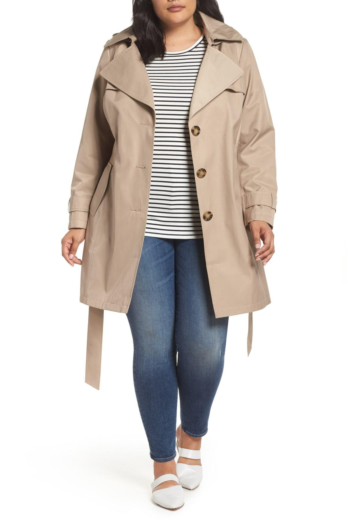 398e451d126 Lyst - Halogen Hooded Trench Coat (plus Size) in Natural
