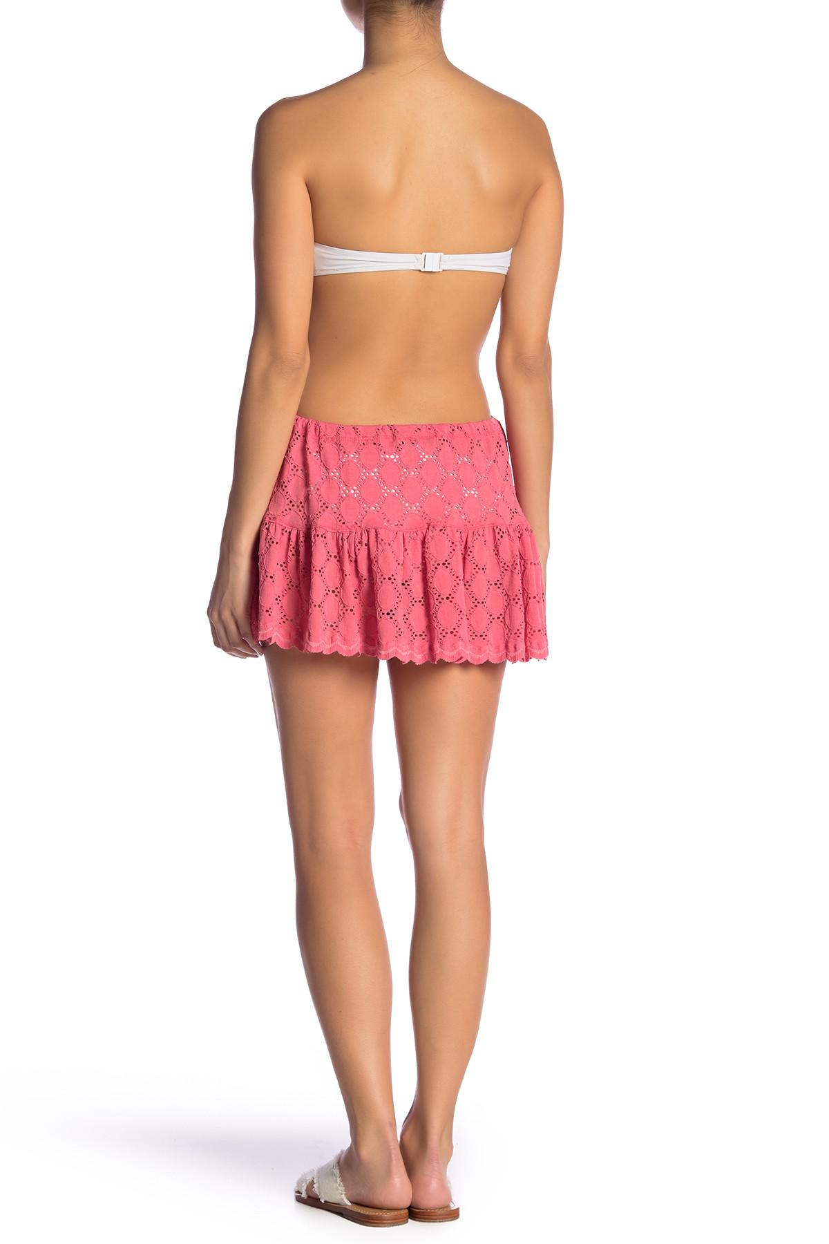 a3d083d0c1 Lyst - J Valdi Ruffle Eyelet Skirt in Pink