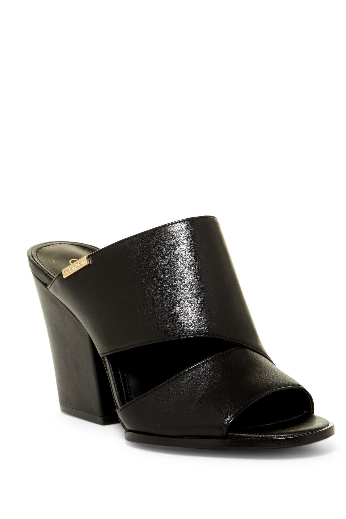 c44453db854 Lyst - Calvin Klein Wiley Crevo Block Heel Sandal in Black