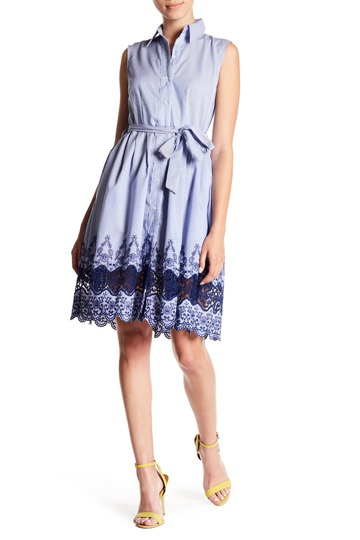 Lyst Sharagano Embroidered Sleeveless Shirt Dress Petite In Blue
