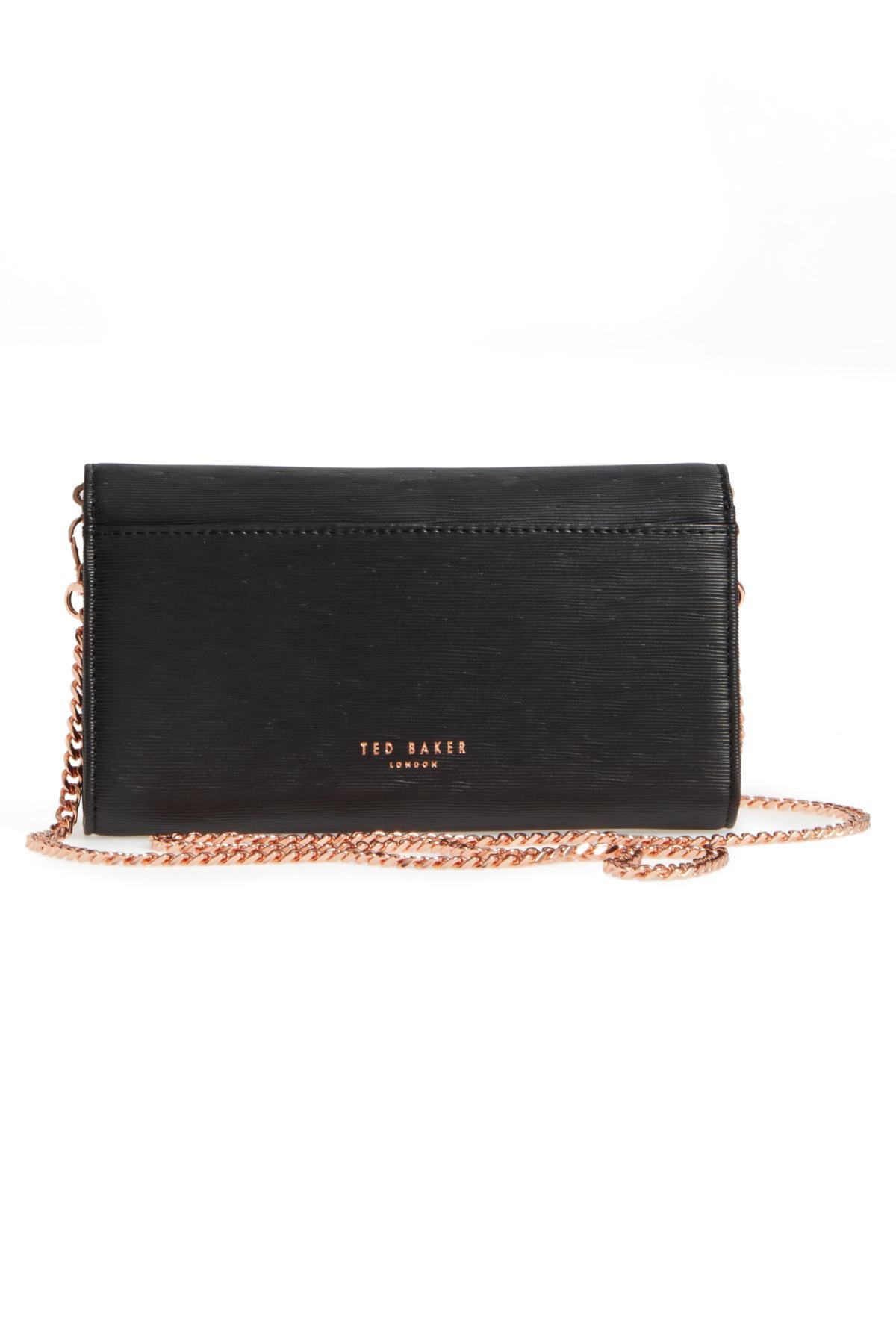 d6575039cea Ted Baker Melisia Bow Matinee Wallet On A Chain in Black - Lyst