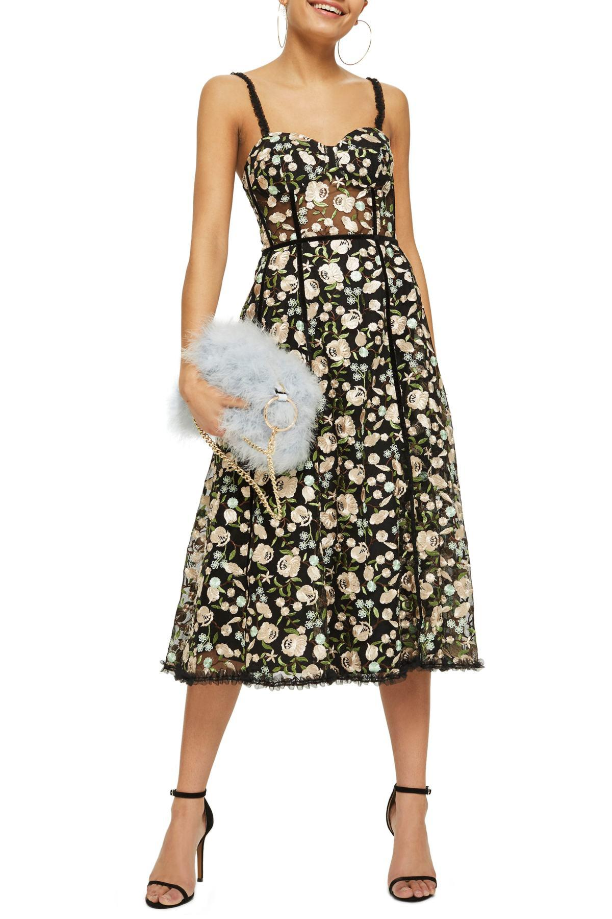 a19625c33978 TOPSHOP Floral Corset Midi Dress in Black - Lyst