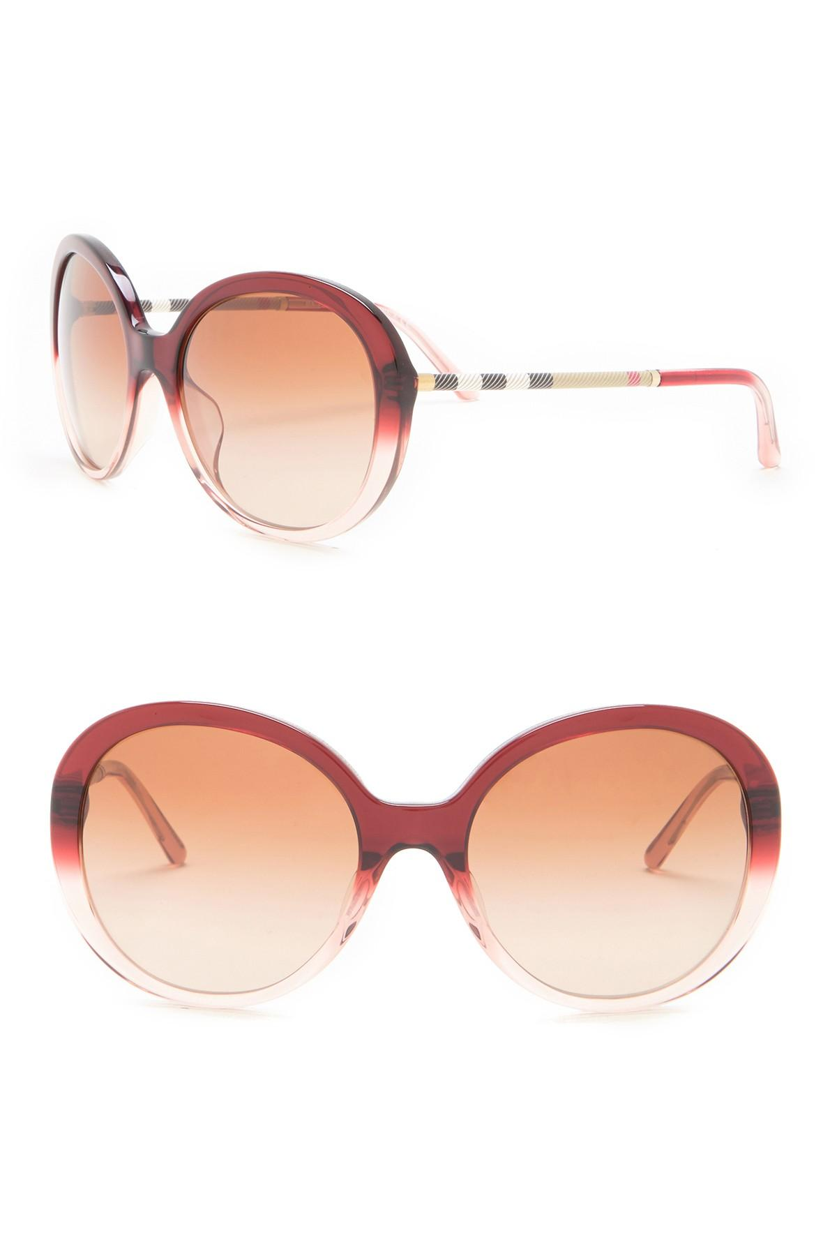 5c05d9866ef2 Lyst - Burberry Women s Heritage Check 57mm Sunglasses