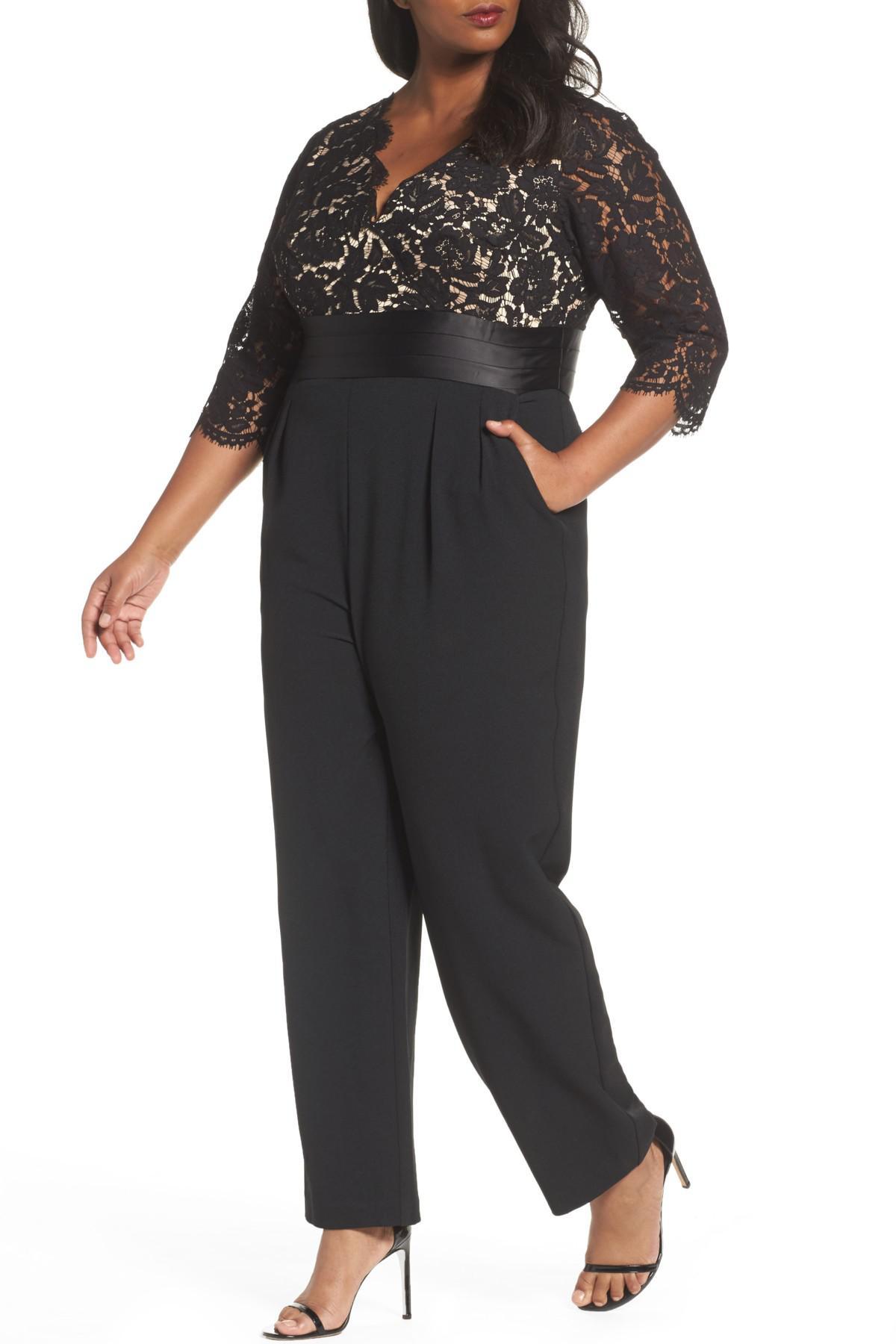 Eliza J Lace Bodice Jumpsuit Plus Size In Black Lyst