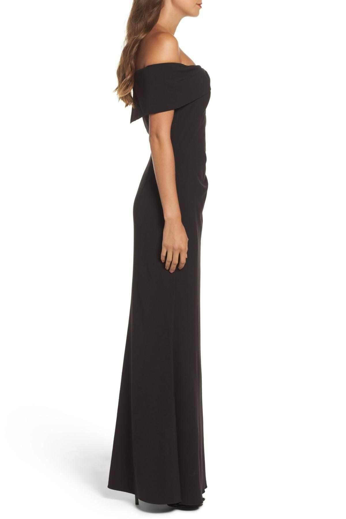 86a52a706440 Lyst - Eliza J Knot Front Off The Shoulder Gown in Black