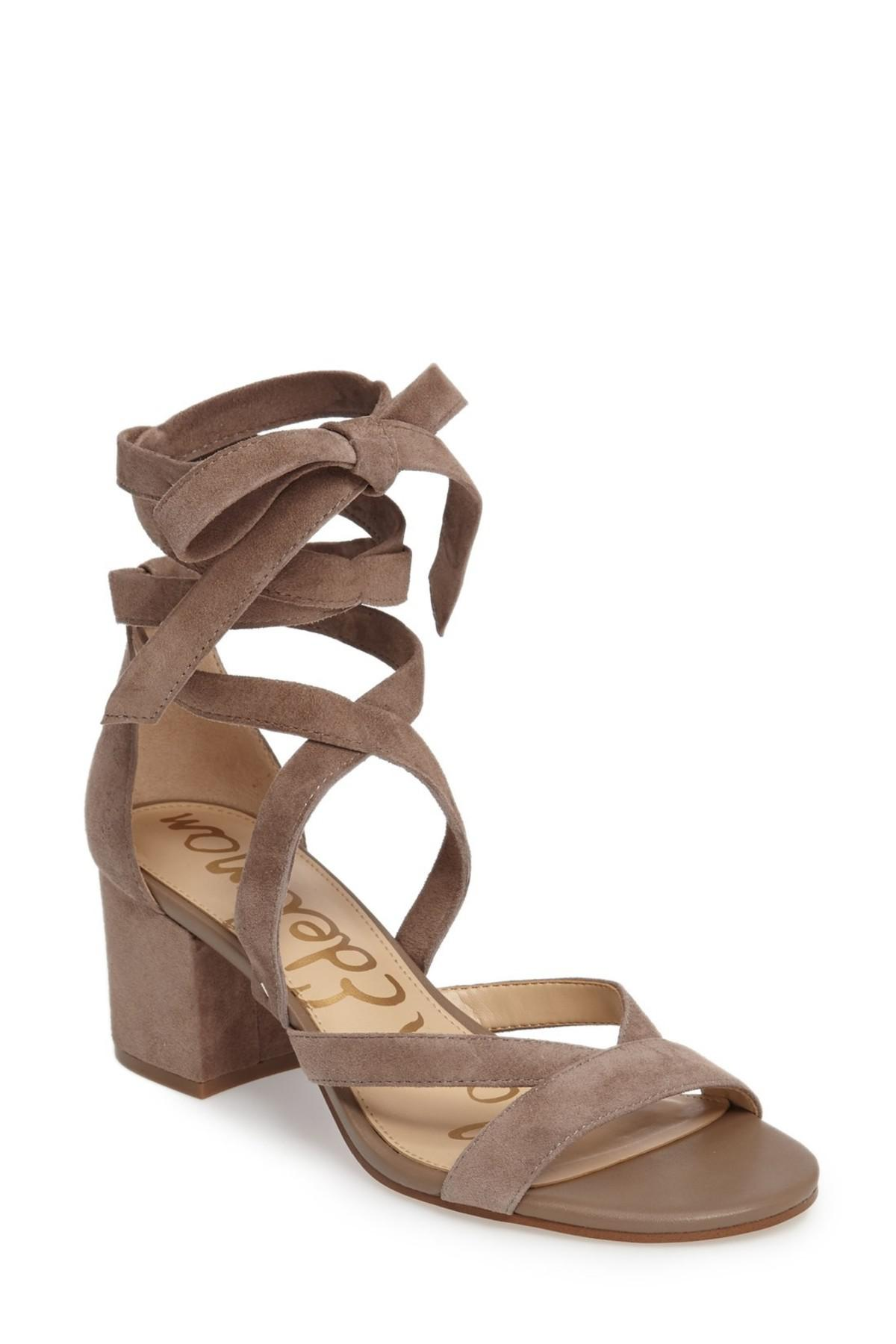 550a885a457a Lyst - Sam Edelman Sheri Wrap-ankle Block Heel Sandal in Brown