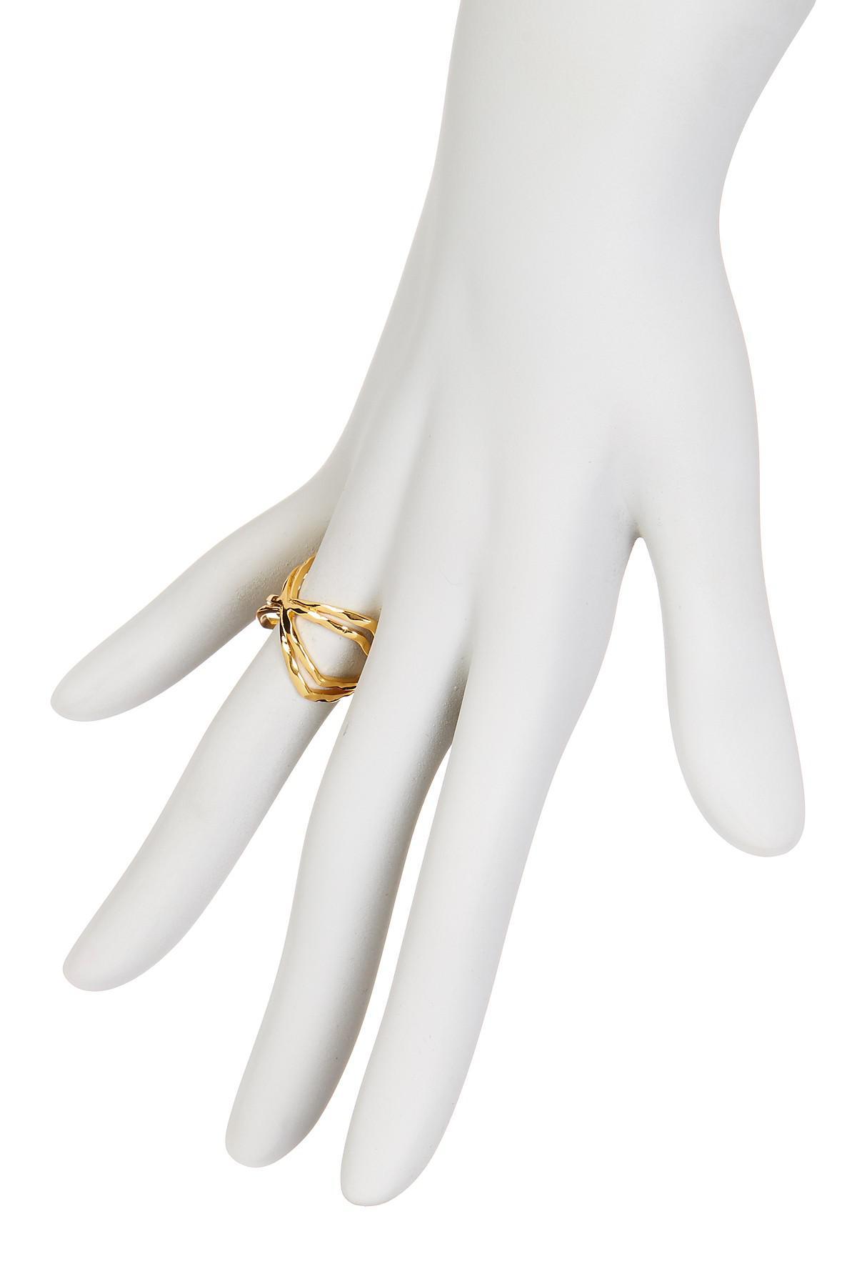 Gorjana Skyler Crisscross Cuff Ring, Size 6