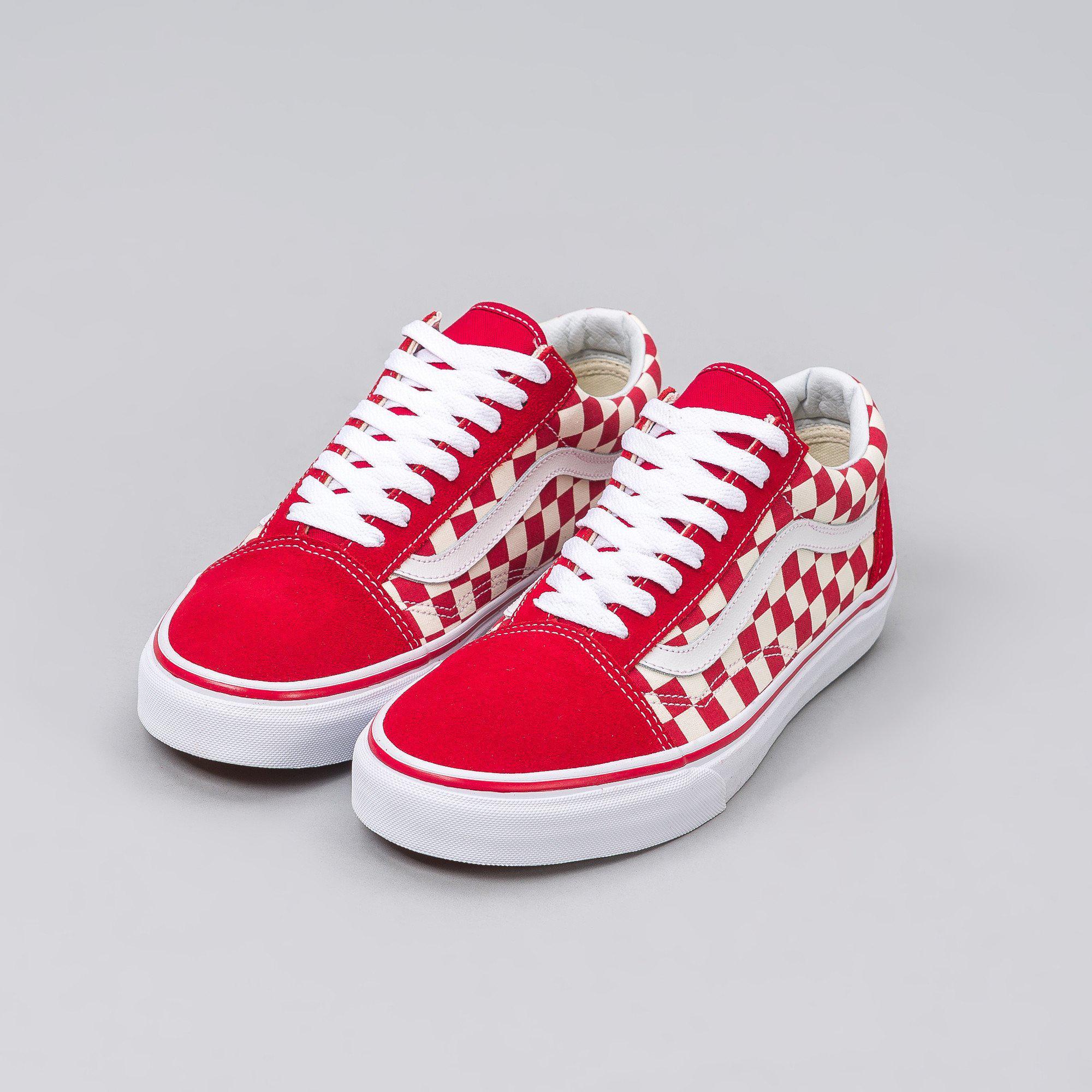 c457b4ec11b Lyst - Vans Old Skool Checkerboard In Red white in Red for Men