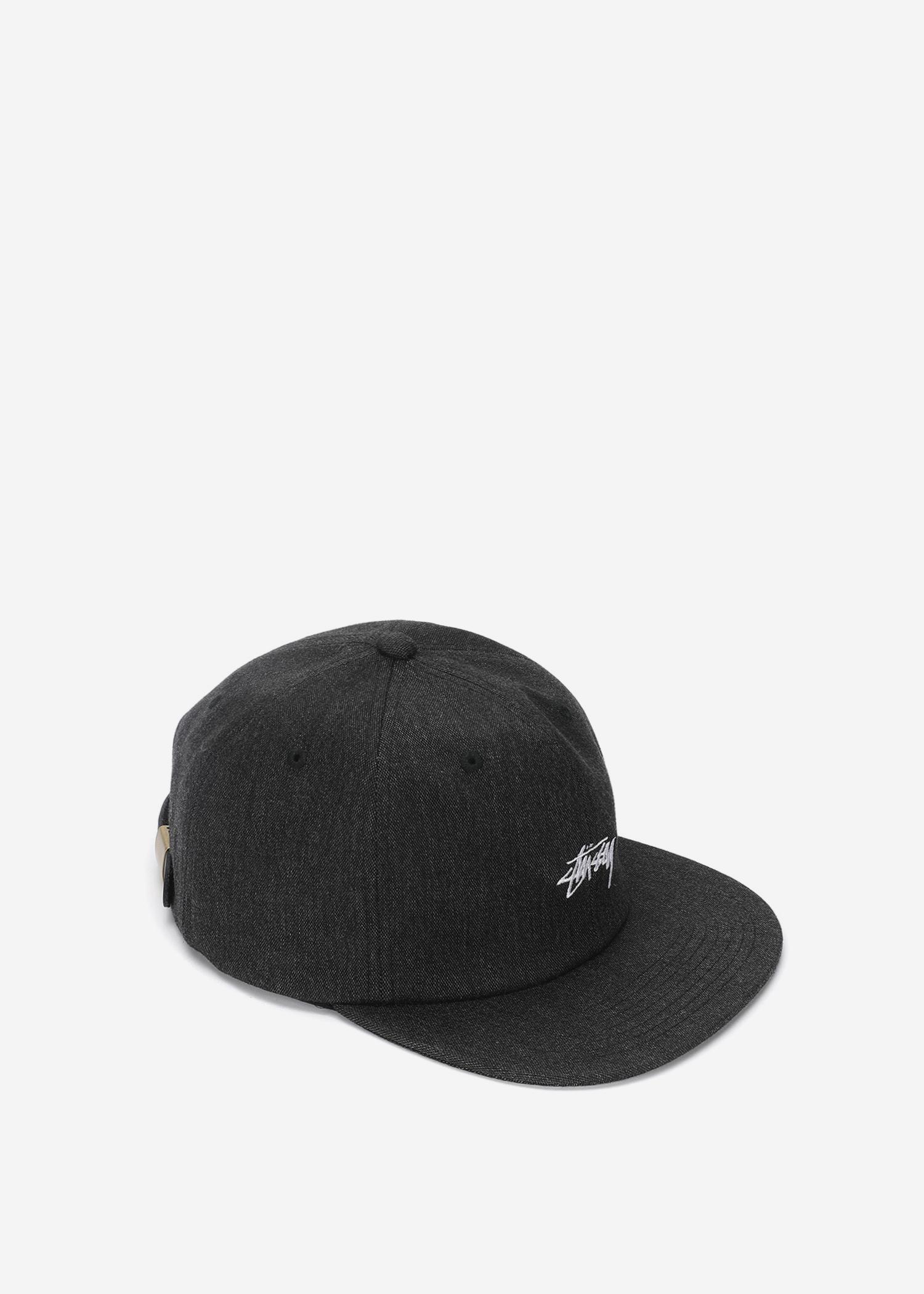 25c4bf4cf5132 Lyst - Stussy Melange Denim Strapback Cap in Black for Men