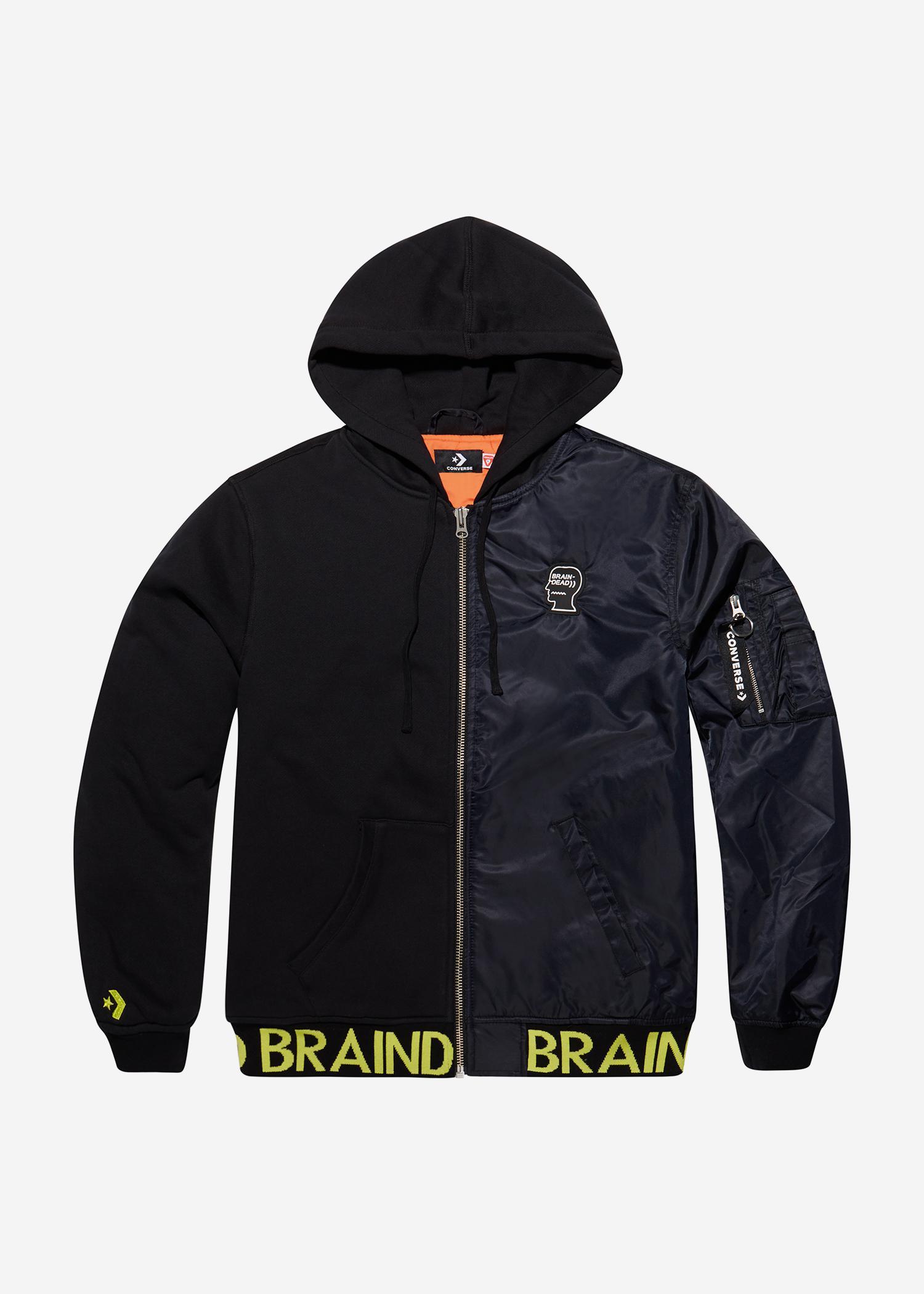 4b9541045b6c Lyst - Converse X Brain Dead Hooded Bomber Jacket in Black for Men