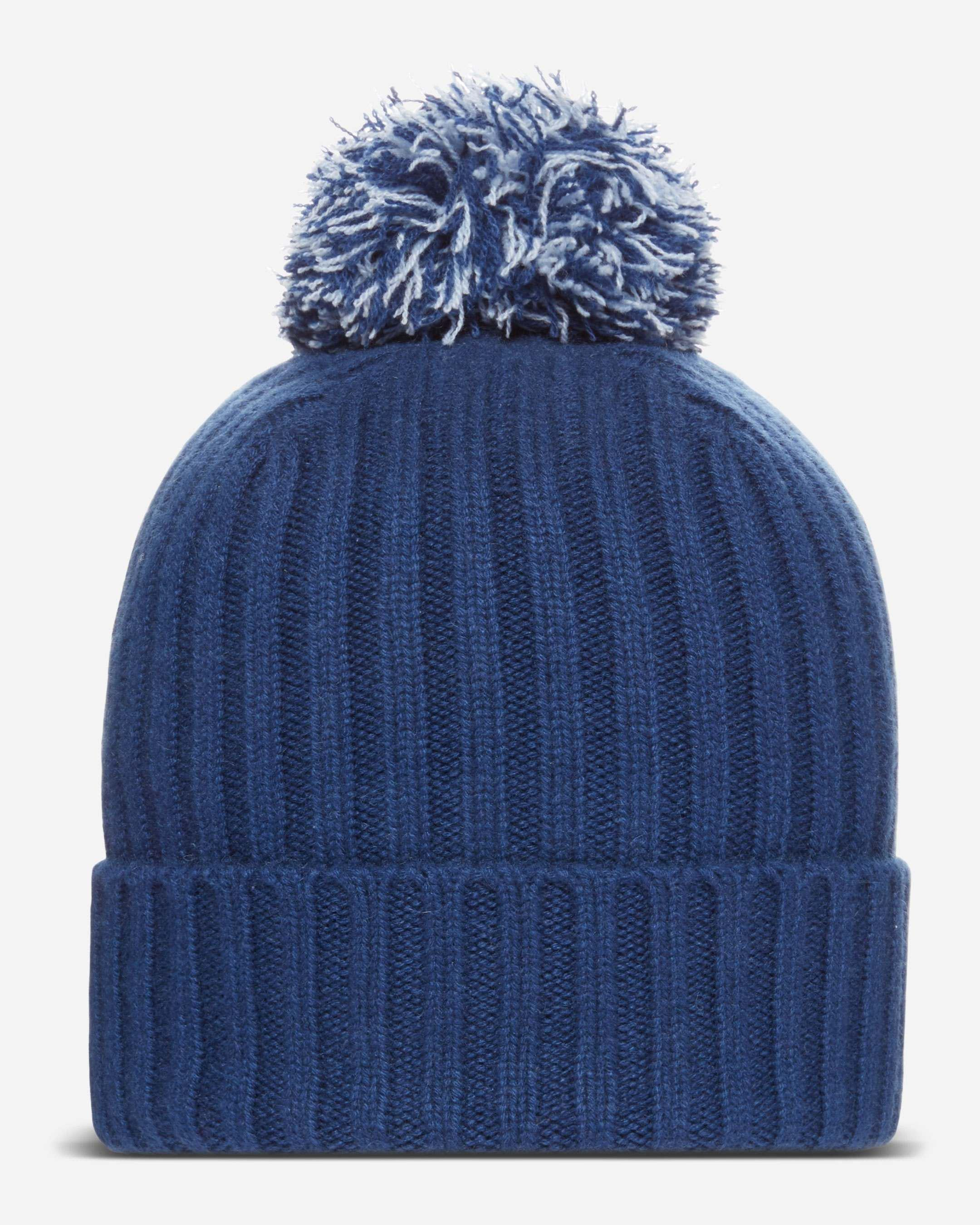 21b06915a0a N.Peal Cashmere Ribbed Cashmere Hat With Cashmere Pom in Blue for ...